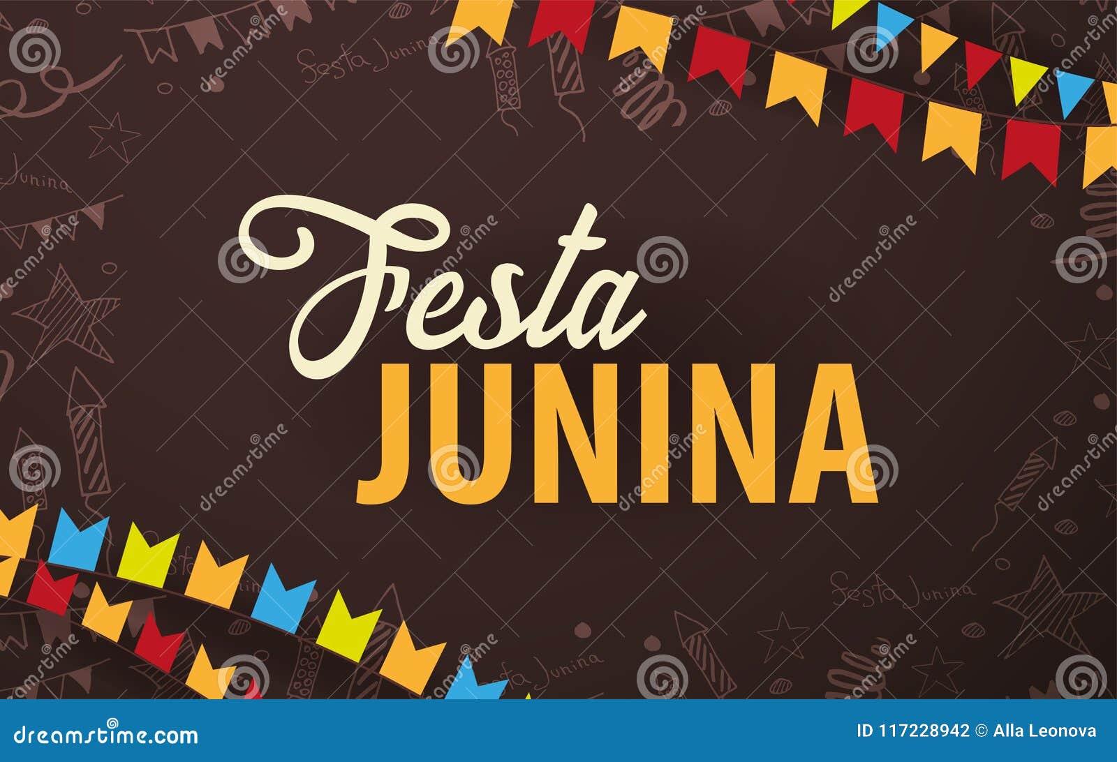 Fond de Festa Junina avec des éléments de griffonnage d aspiration de main et des drapeaux de partie Le Brésil ou les vacances la