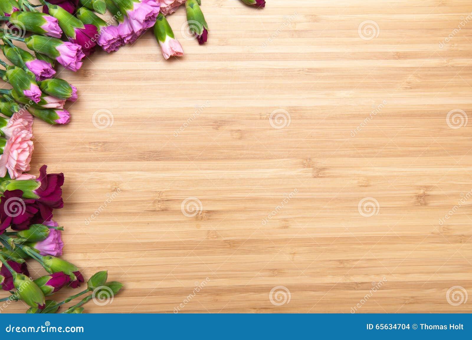 Fond de fleur et en bois