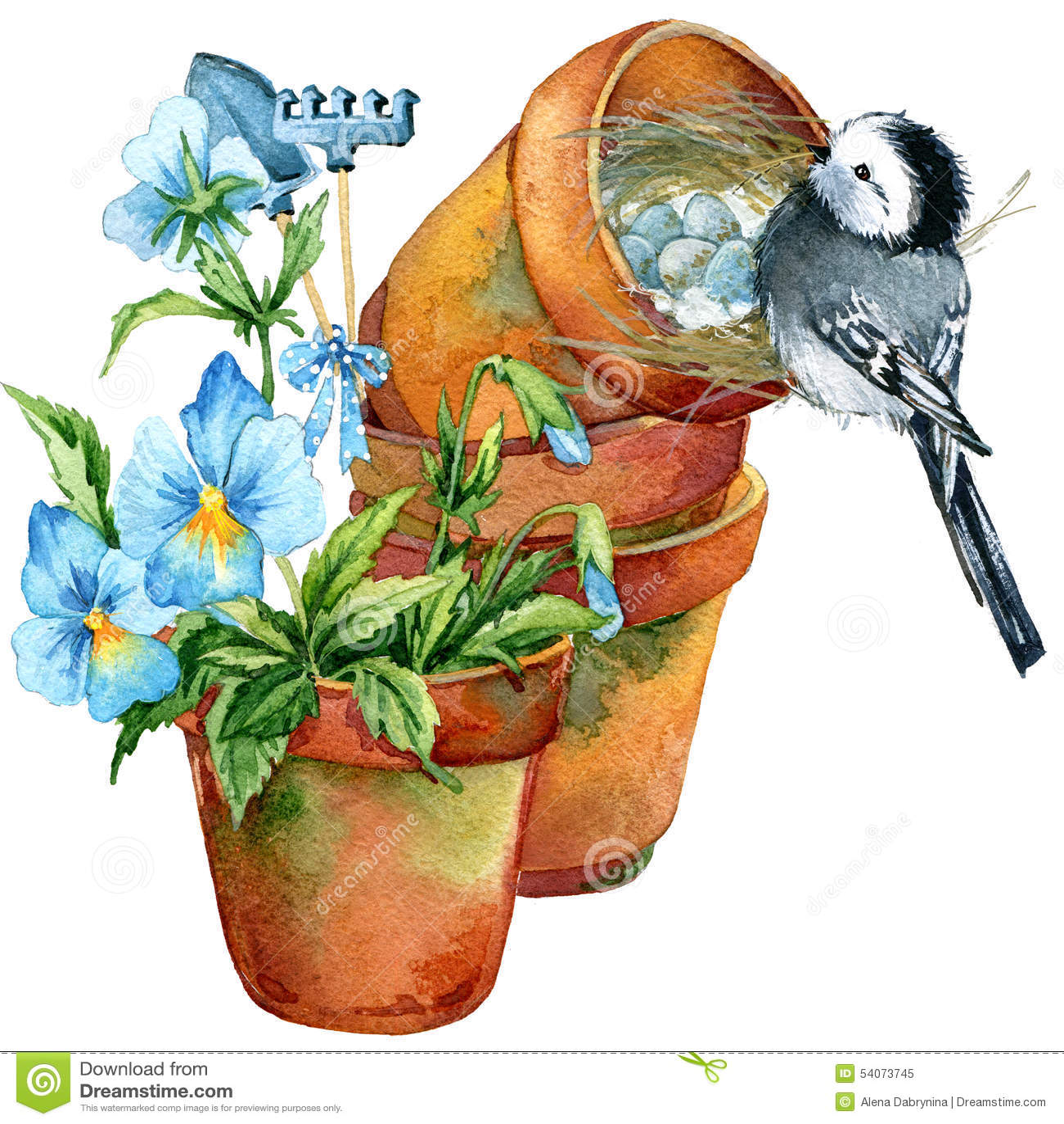 Fond de fleurs d 39 oiseau et de jardin illustration stock for Oiseau decoratif jardin