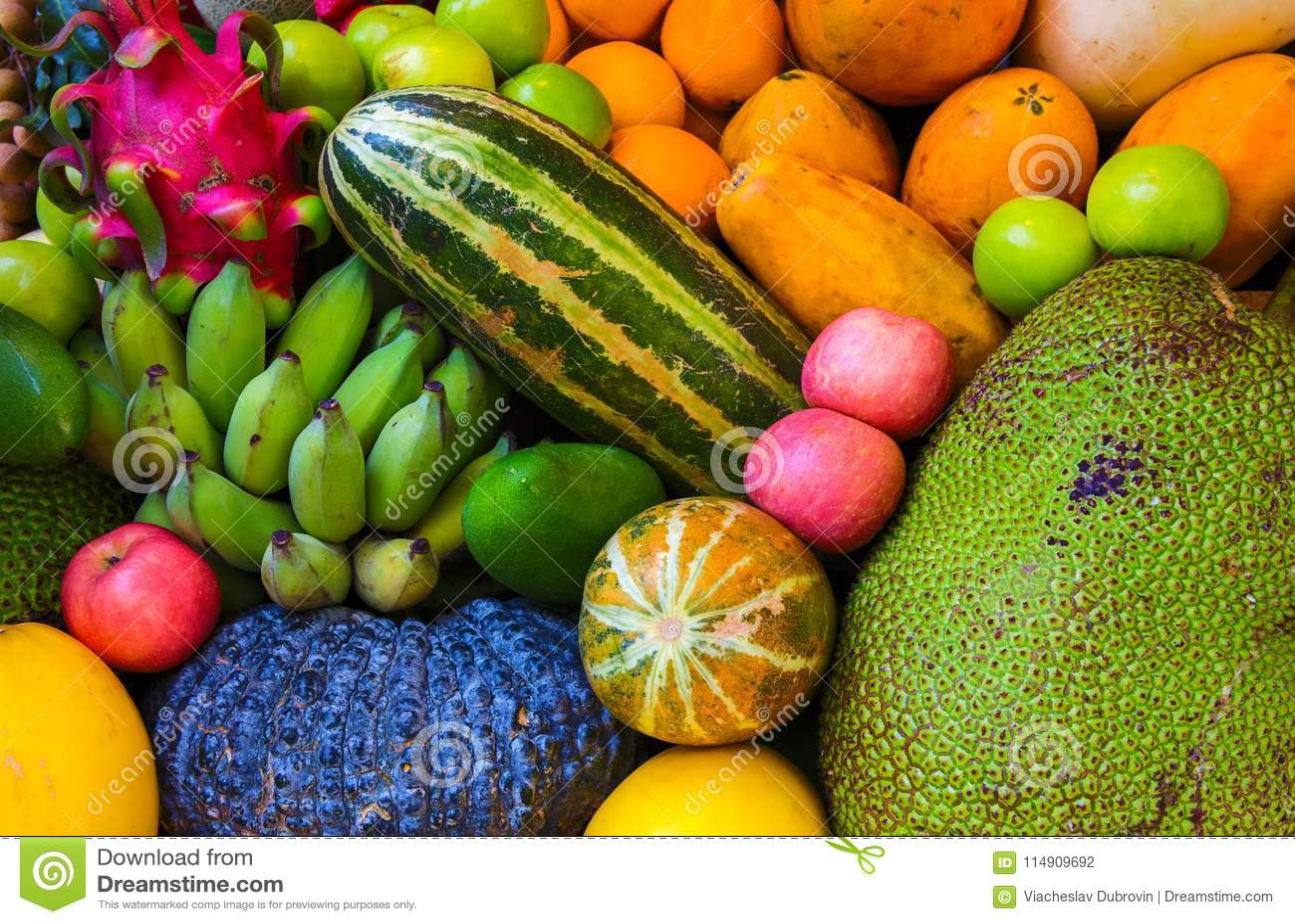 Fond de fruit tropical Photo exotique crue et mûre de plan rapproché de fruit papier peint végétarien