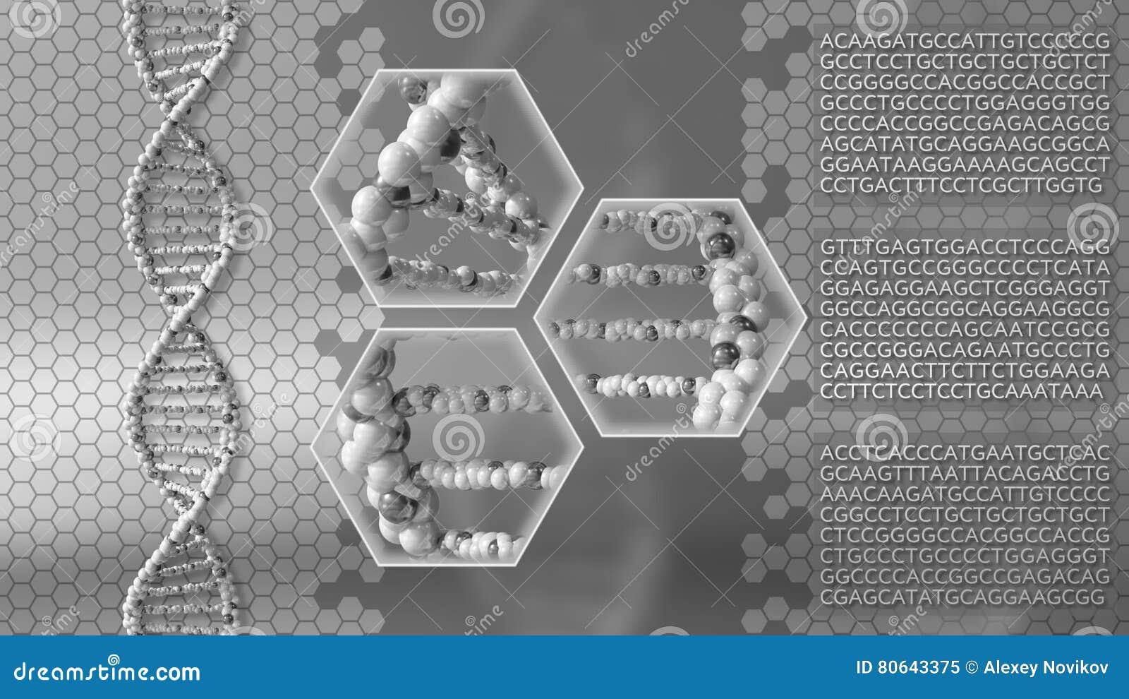 Fond de gris de molécules d ADN Recherche génétique, médecine moderne ou concepts de balayage rendu 3d