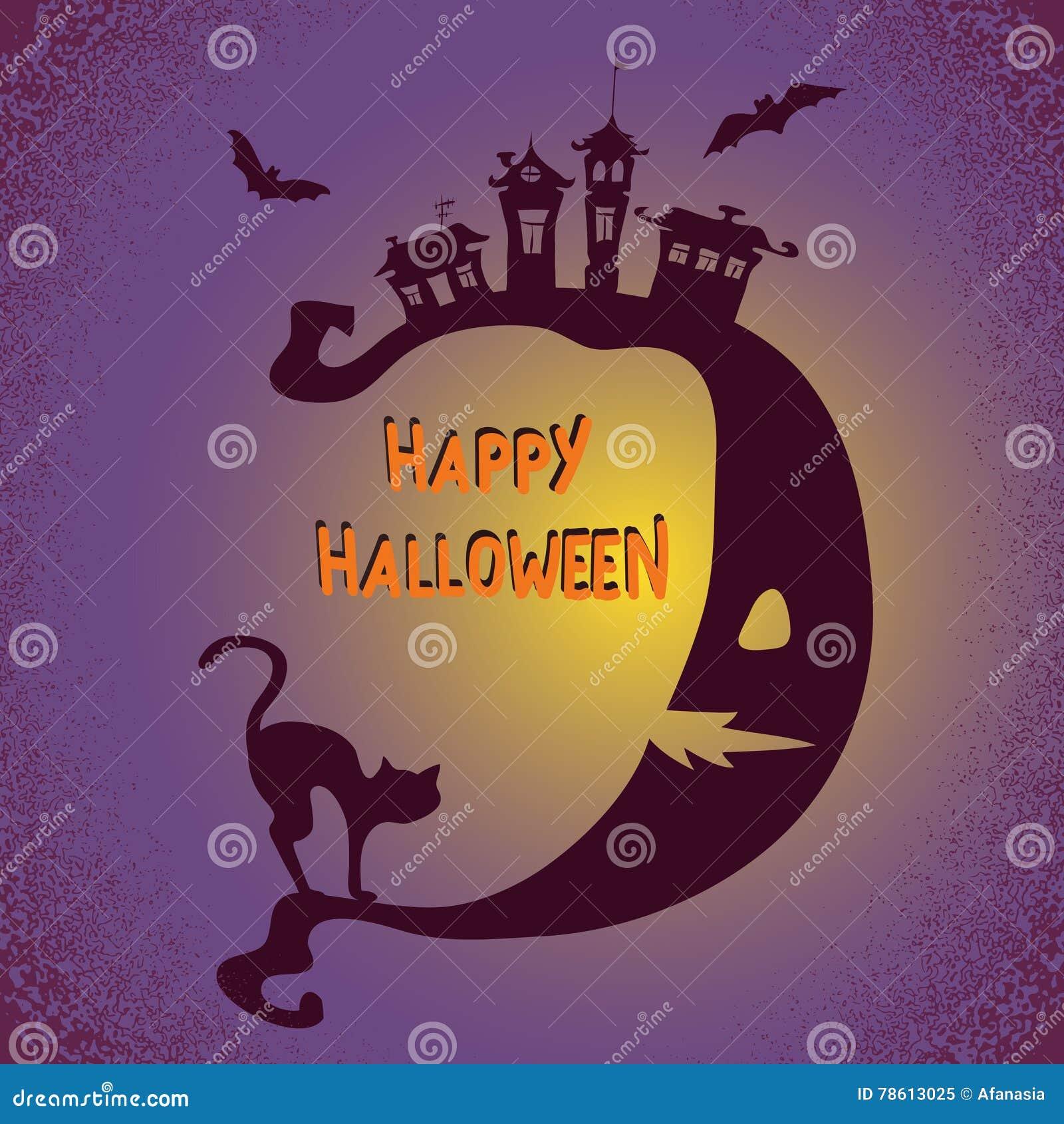 Fond de Halloween avec la lune et le chat noir Illustration de vacances de vecteur