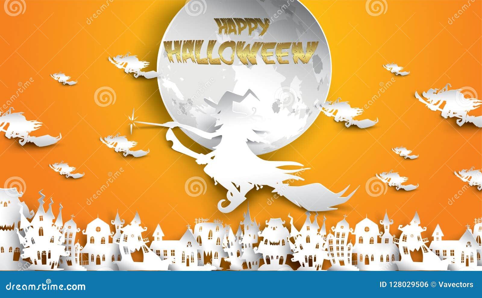 Fond De Halloween Avec La Sorcière La Maison Hantée La