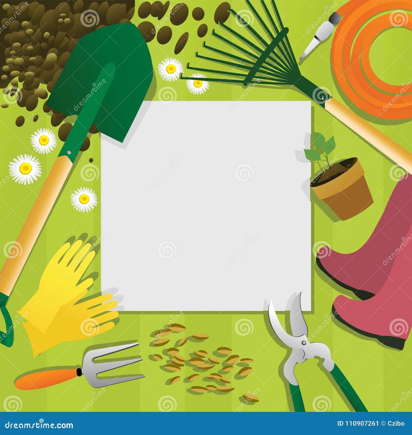 Fond De Jardinage Avec Des Outils De Jardin Illustration de Vecteur ...