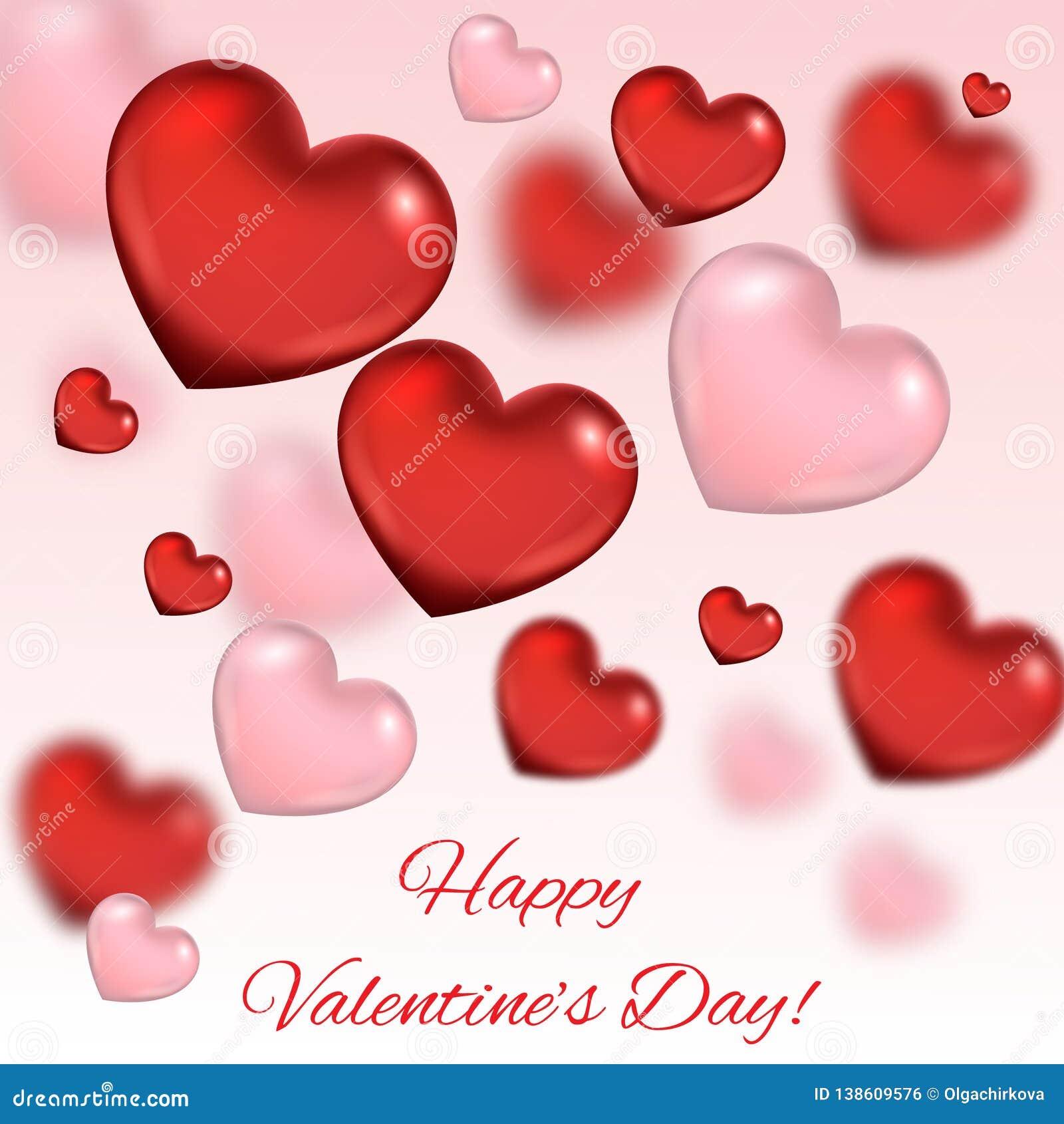 Fond de jour du ` s de Valentine Composition romantique avec des coeurs
