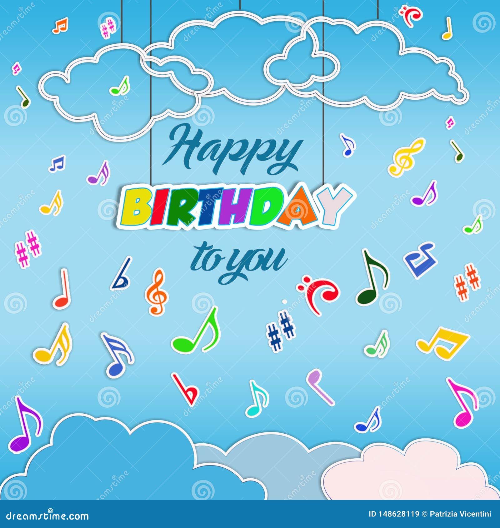 Fond de joyeux anniversaire avec les notes musicales de vol