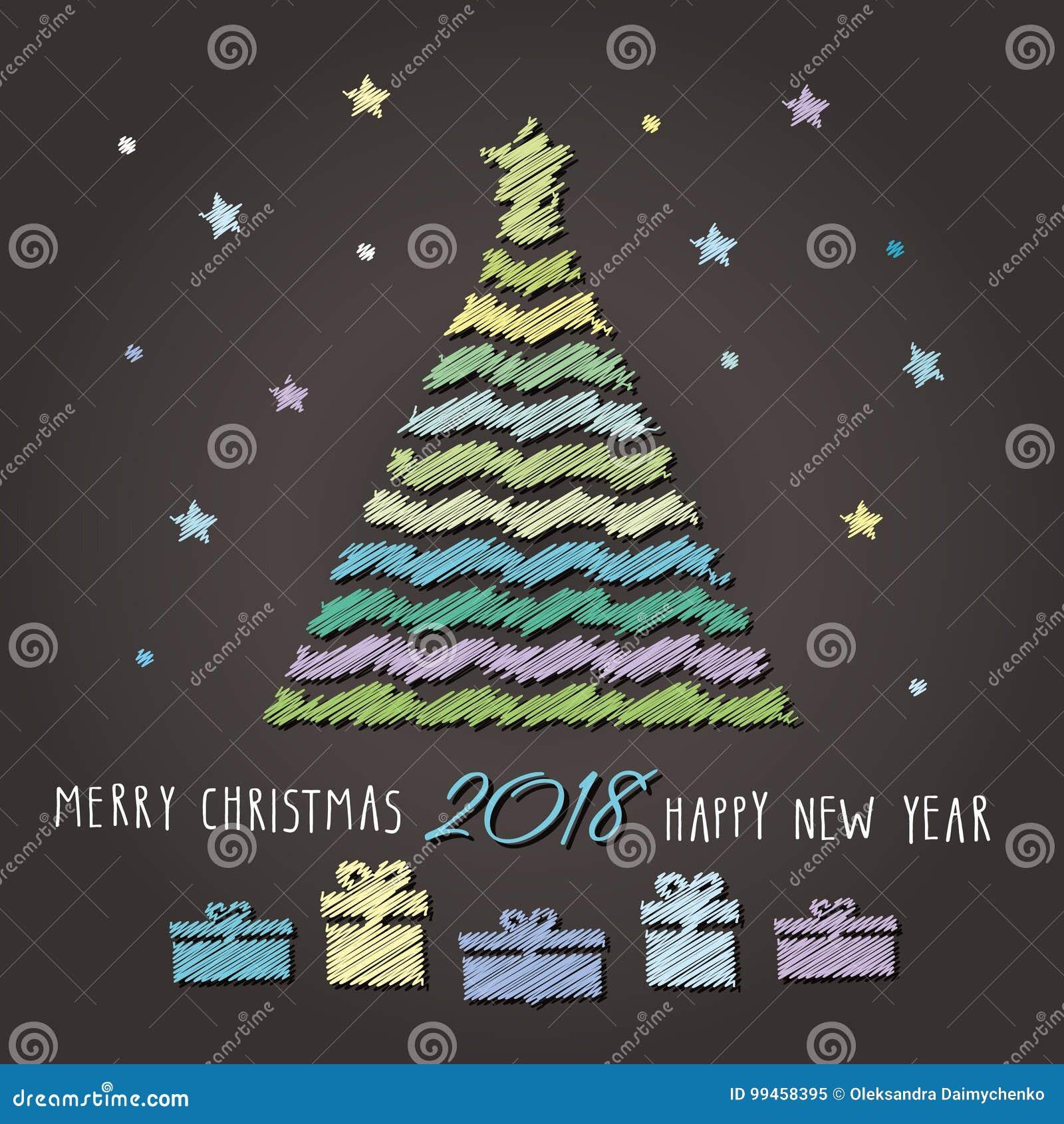 Fond 2018 De Joyeux Noel Et De Bonne Annee Illustration De Vecteur