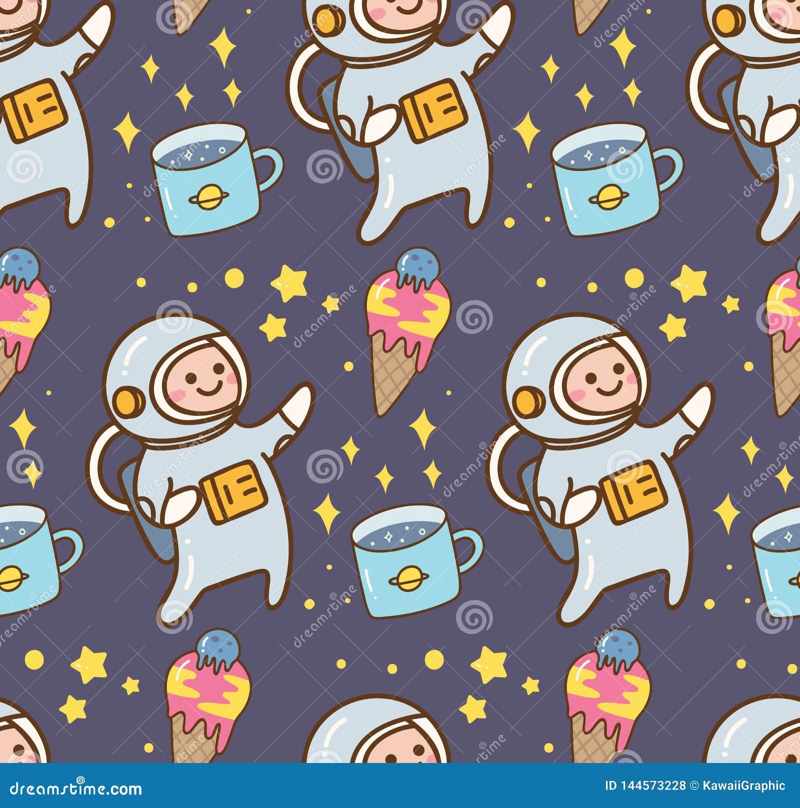 Fond de kawaii de l espace avec la planète de crème glacée d astronaute et