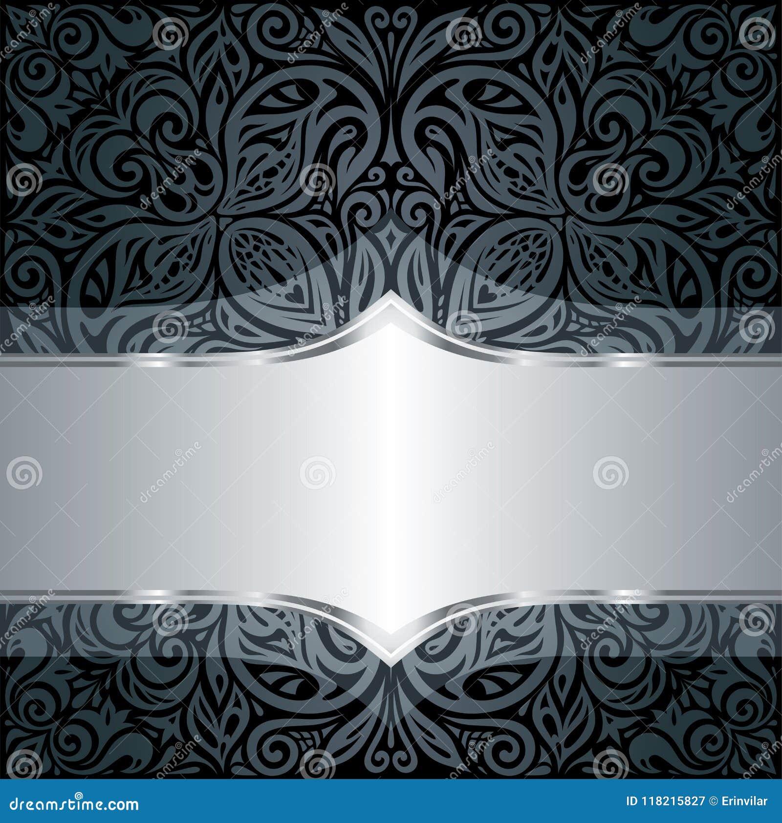 Fond De Luxe Floral Noir Et Argente Decoratif De Papier Peint Avec