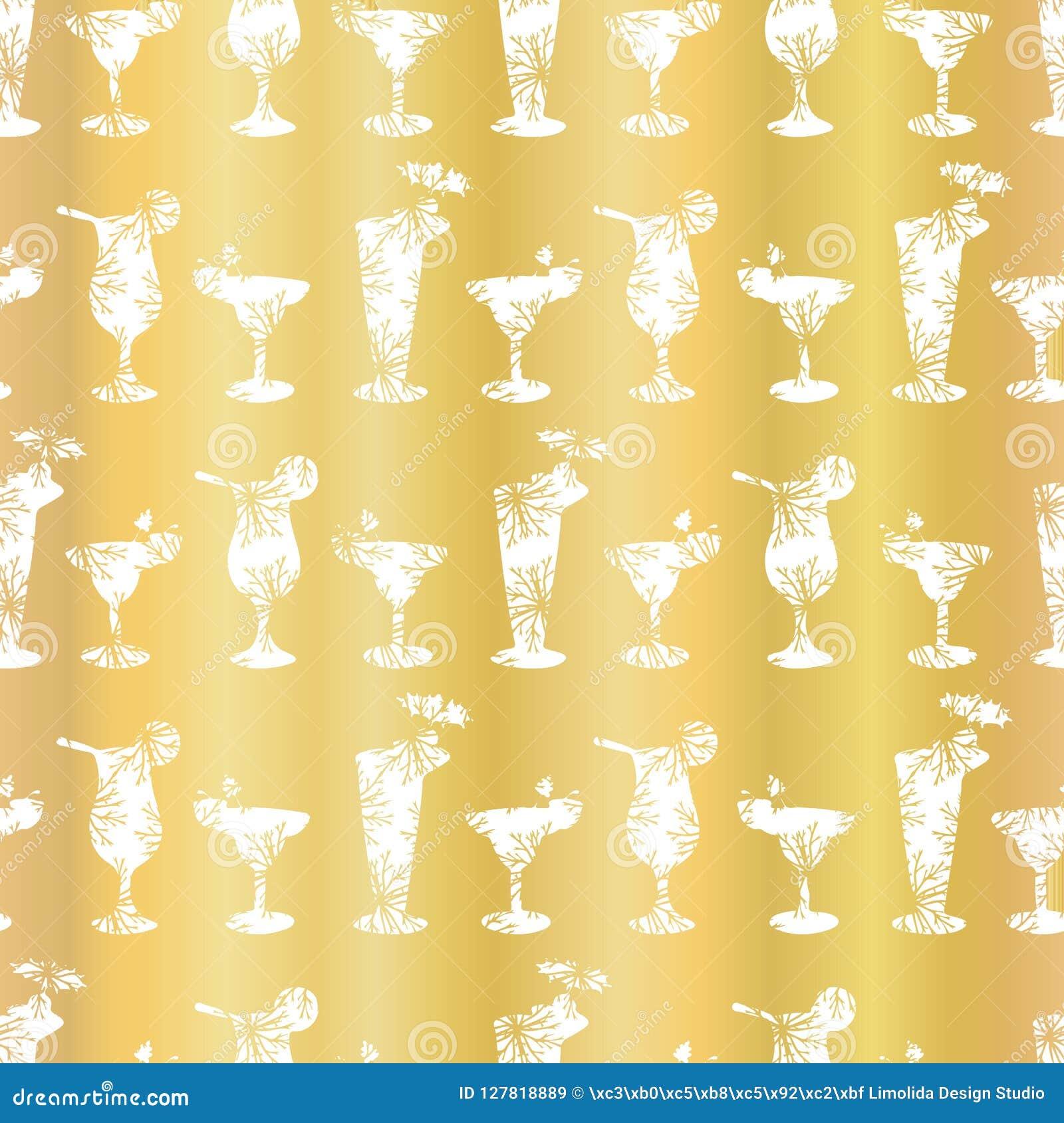 Fond de luxe de Frosty Cocktail Glasses Seamless Pattern de feuille d or