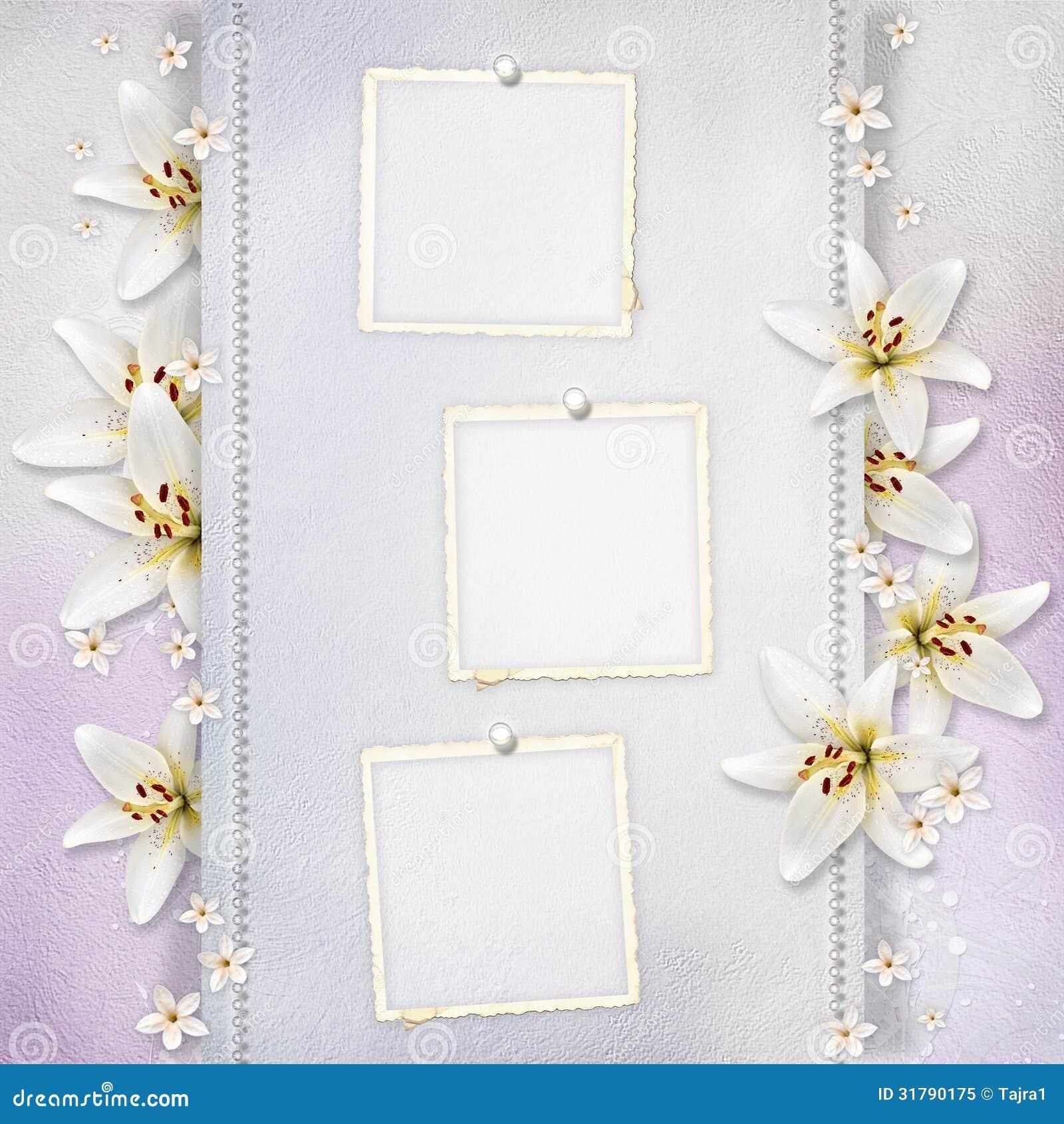 fond de mariage avec des fleurs et des cadres photo libre de droits image 31790175. Black Bedroom Furniture Sets. Home Design Ideas