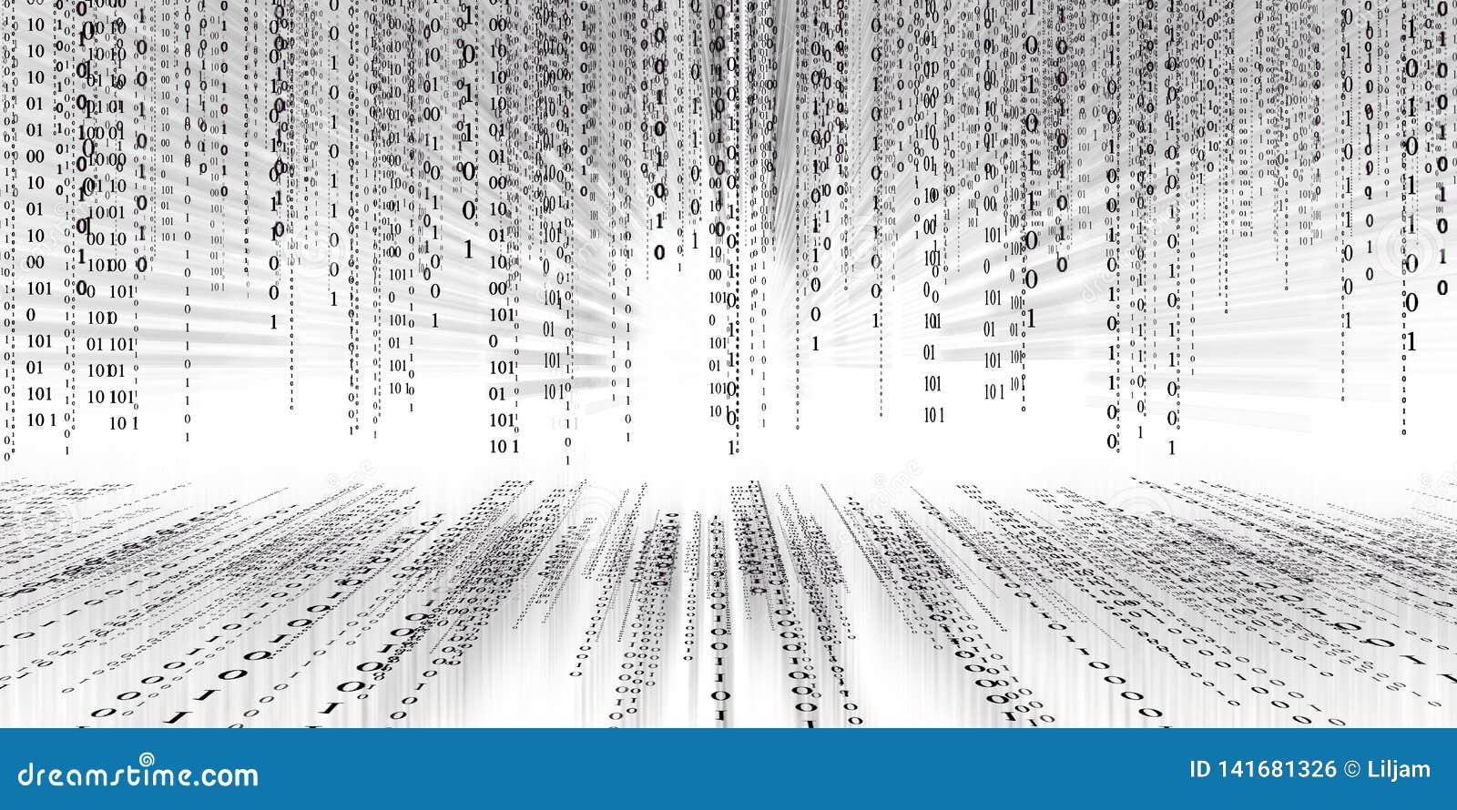 Fond de matrice de technologie de code binaire de données numériques, code binaire futuriste de conectivity d inondation de donné