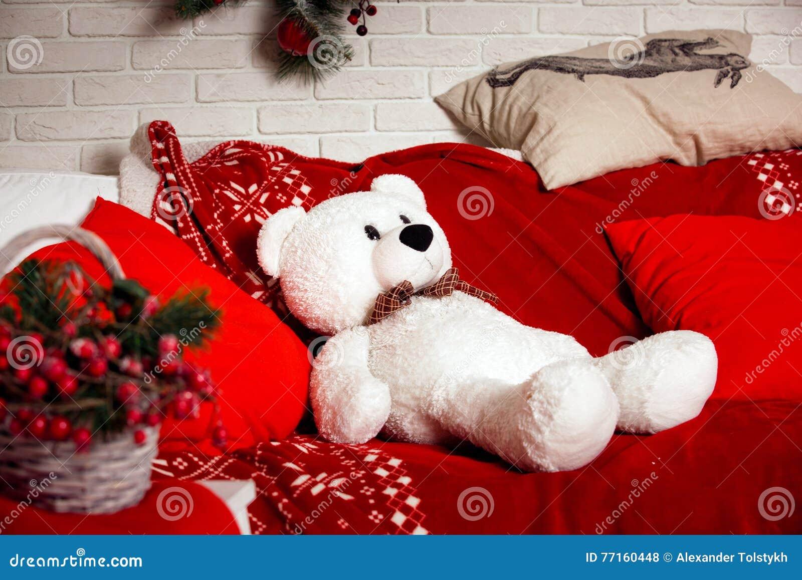 Fond de Noël avec le jouet d ours blanc