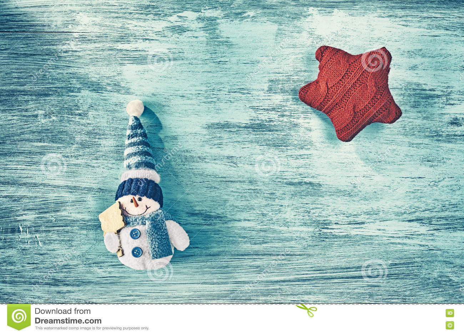 Fond de Noël avec le jouet de bonhomme de neige