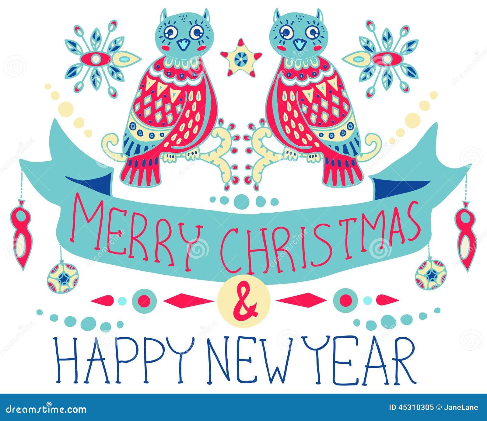 Fond de Noël avec les décorations mignonnes et les hiboux drôles
