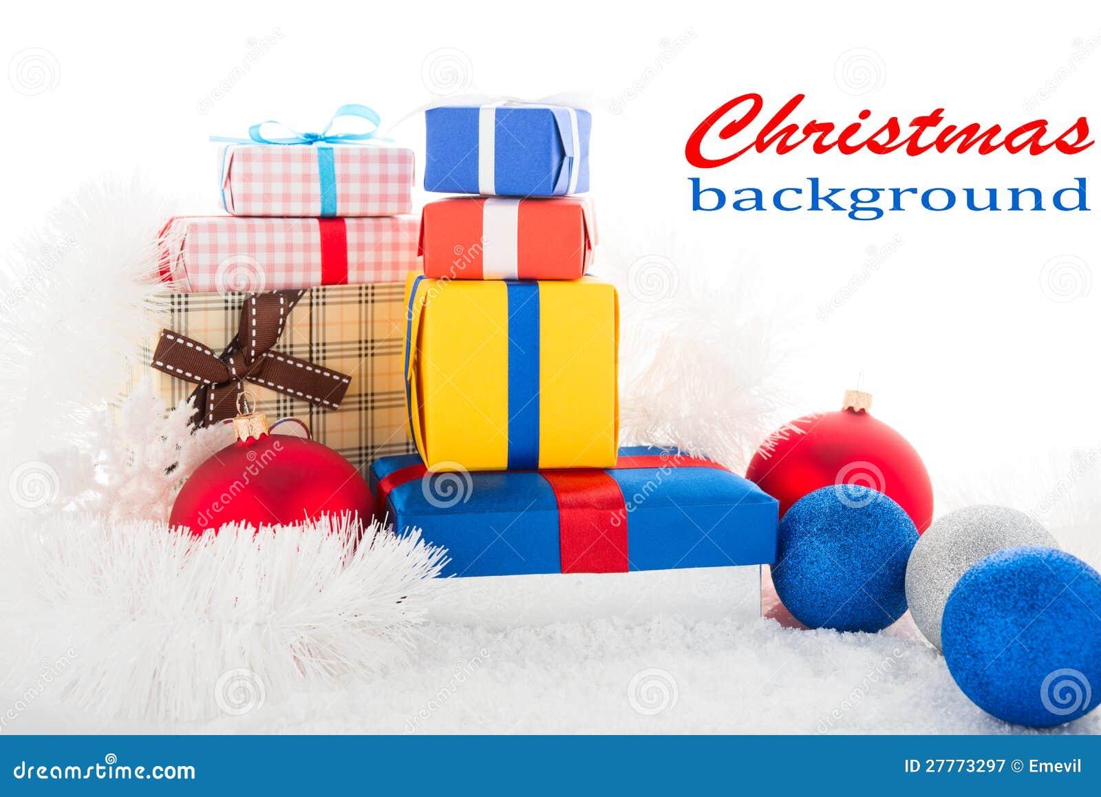 Fond de Noël. Cadres de cadeau