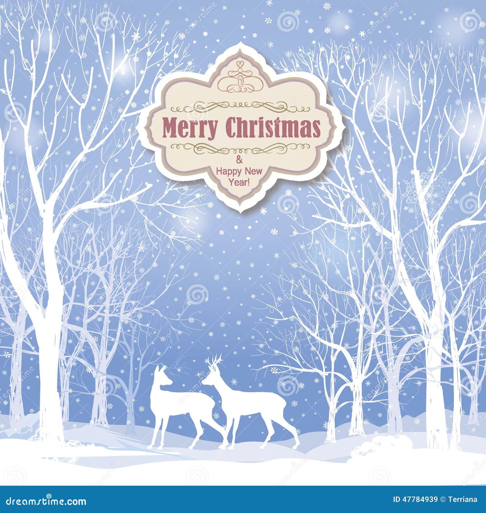 Fond De Noël Carte De Voeux De Paysage D'hiver De Neige