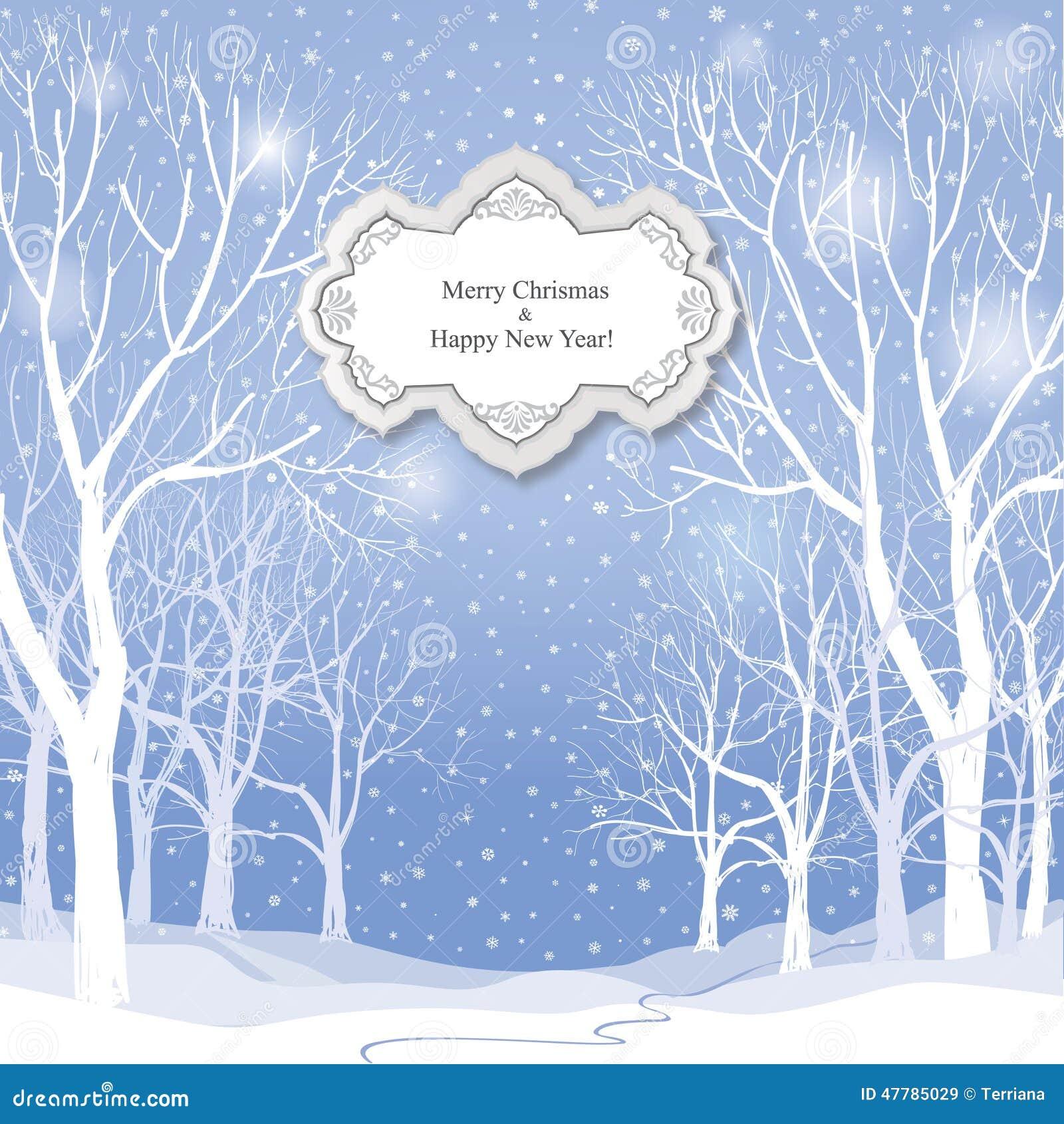 Fond de no l carte de voeux de paysage d 39 hiver de neige illustration stock image 47785029 - Carte de voeux animee gratuite ...