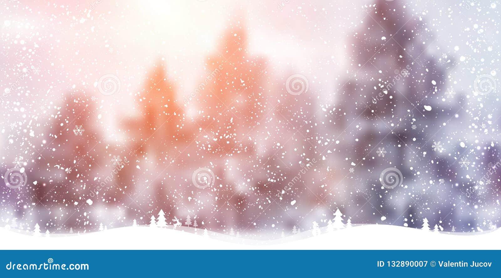 Fond de Noël d hiver avec le paysage, forêt, flocons de neige, lumière, étoiles Carte de Noël et d an neuf