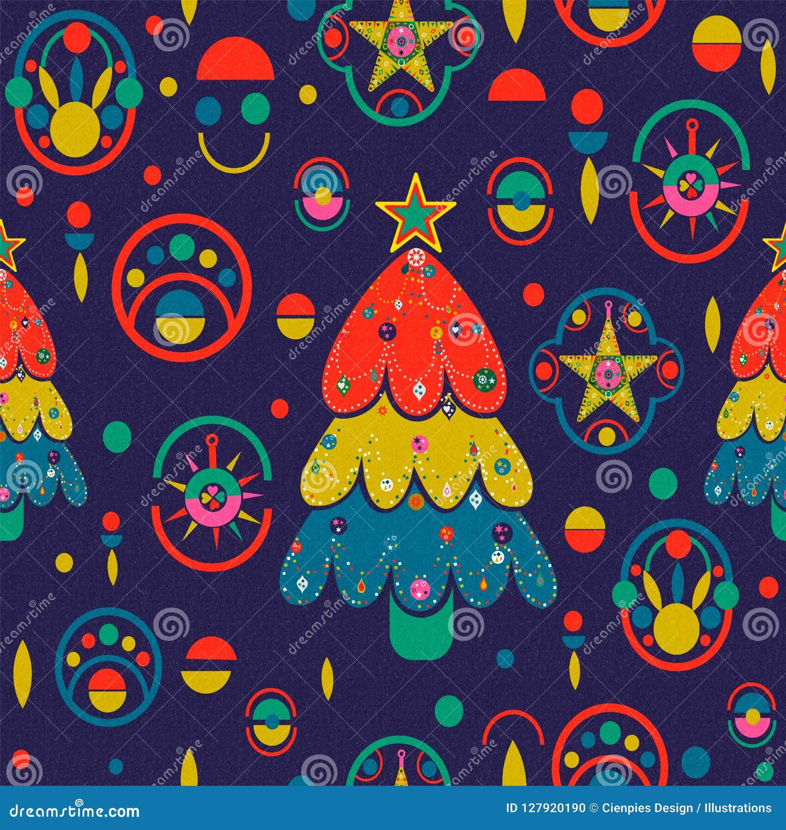 Fond de Noël de rétro pin coloré