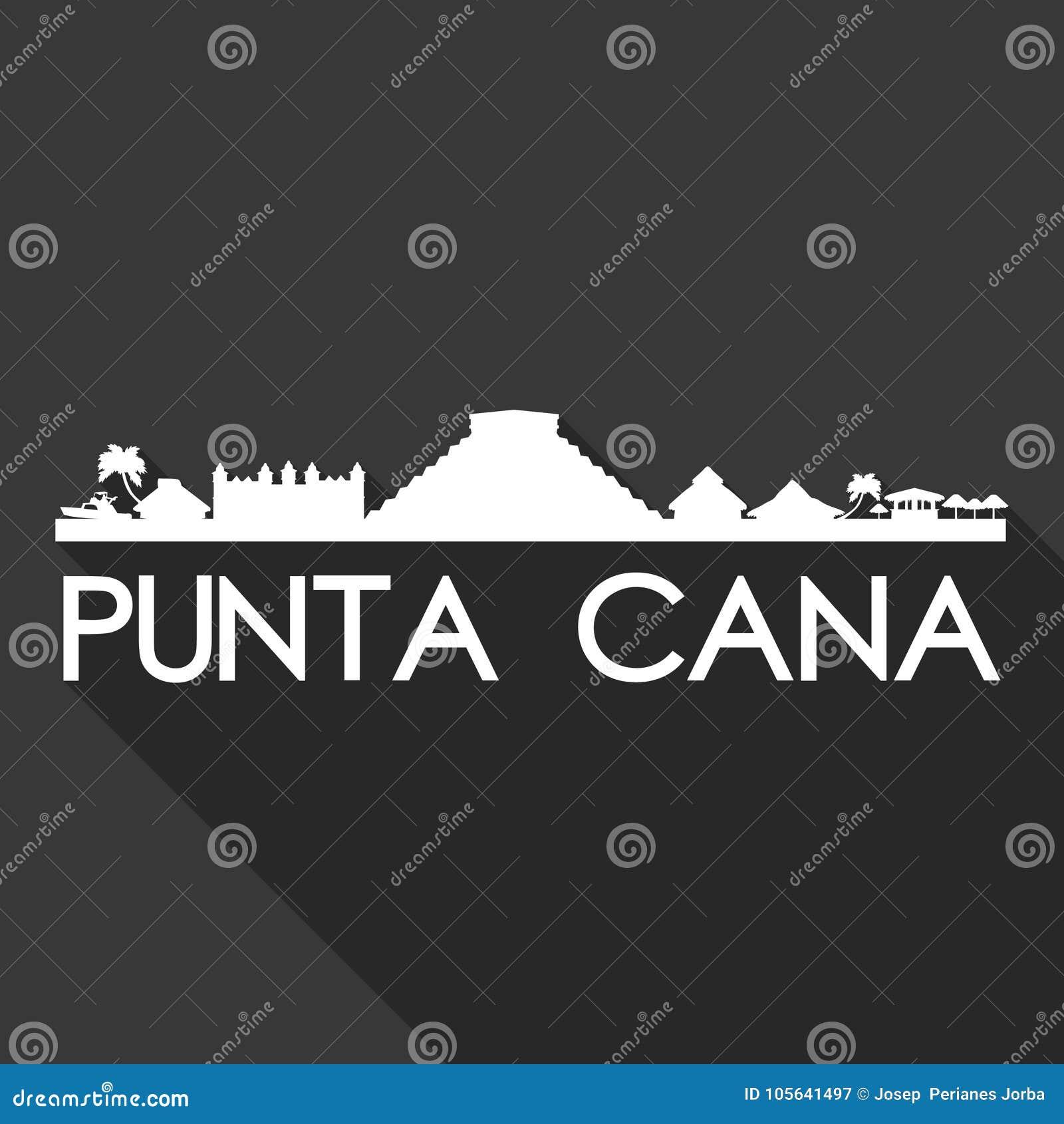 Fond de noir de silhouette de ville d Art Flat Shadow Design Skyline de vecteur d icône de l Amérique de la République Dominicain