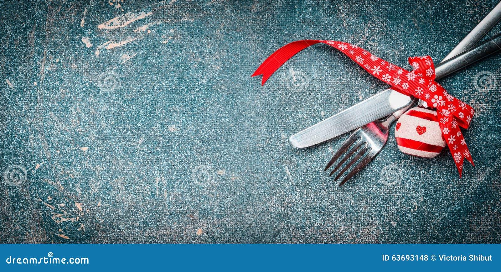 Fond de nourriture de noël avec le couvert de table : fourchette ...