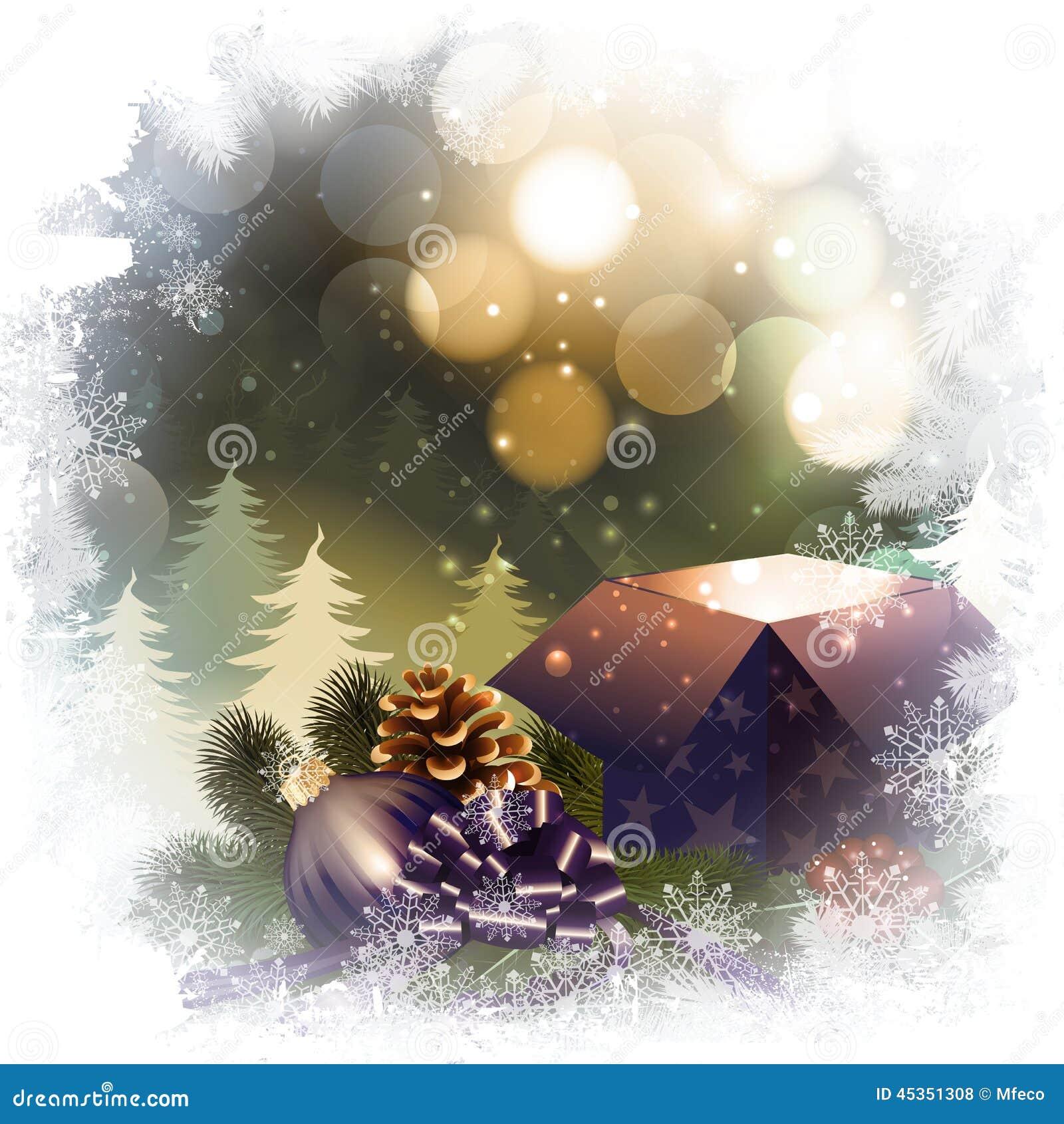 Fond de nuit de Noël avec le boîte-cadeau