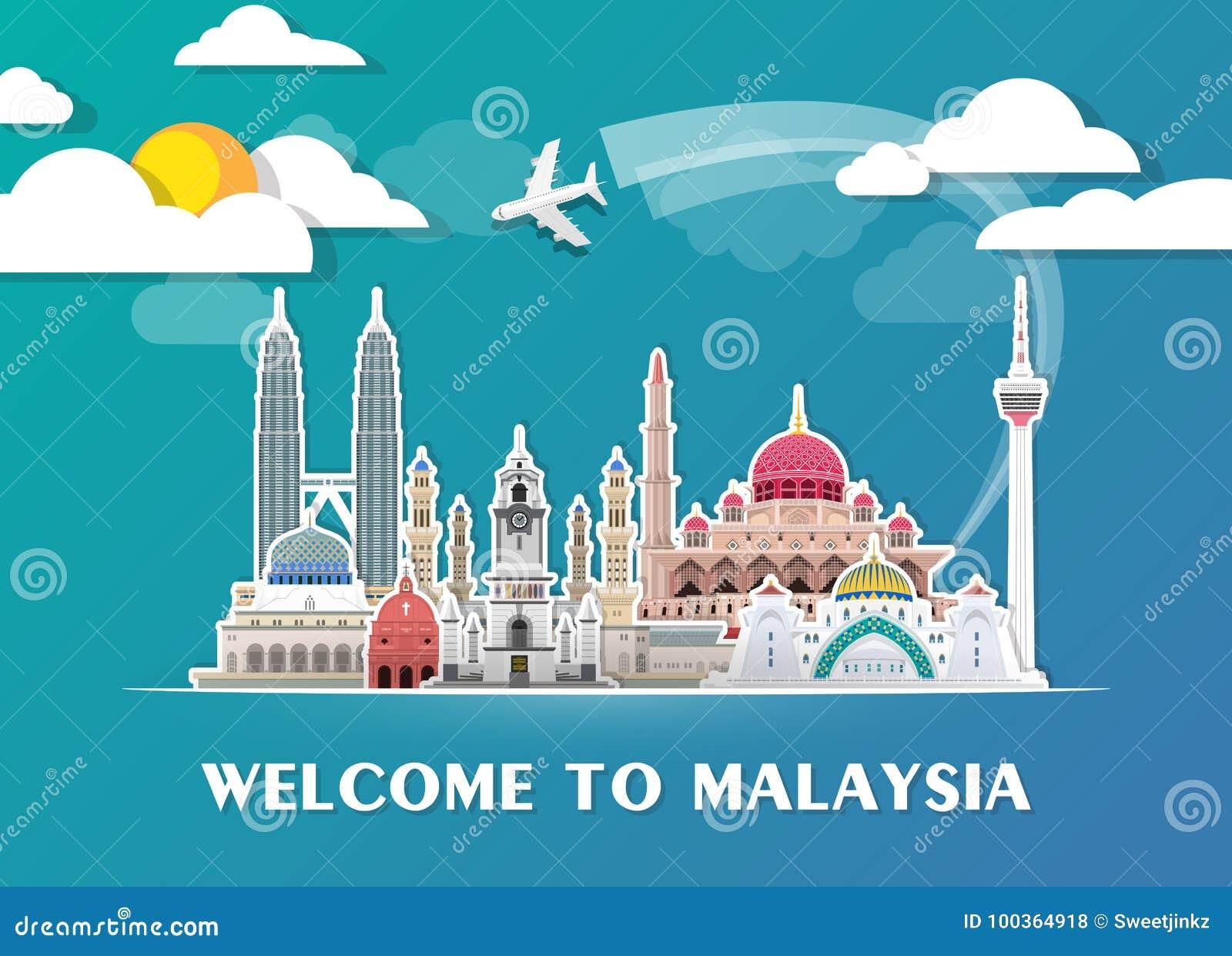 Fond de papier global de voyage et de voyage de point de repère de la Malaisie Descripteur de conception de vecteur utilisé pour