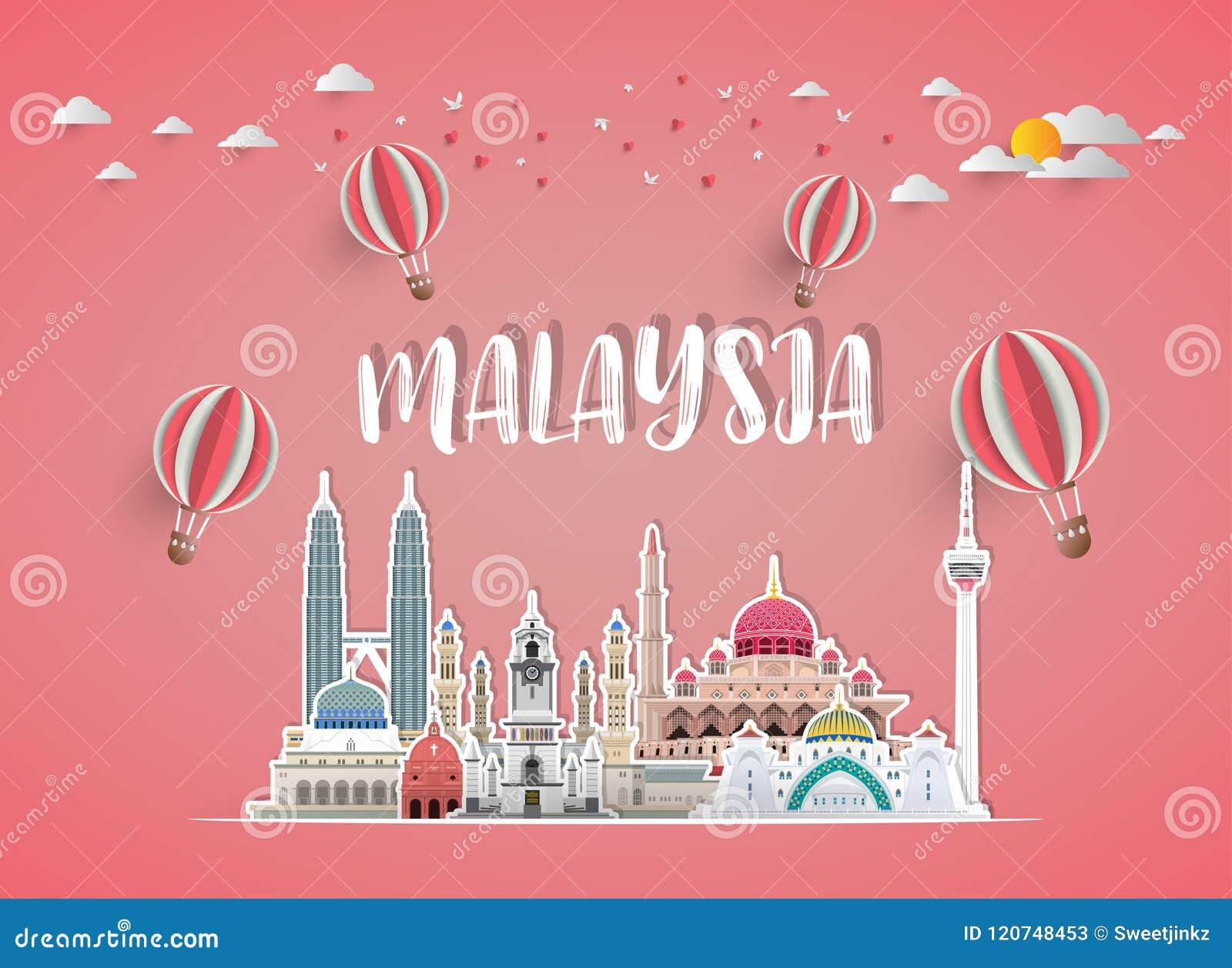 Fond de papier global de voyage et de voyage de point de repère de la Malaisie Le VE