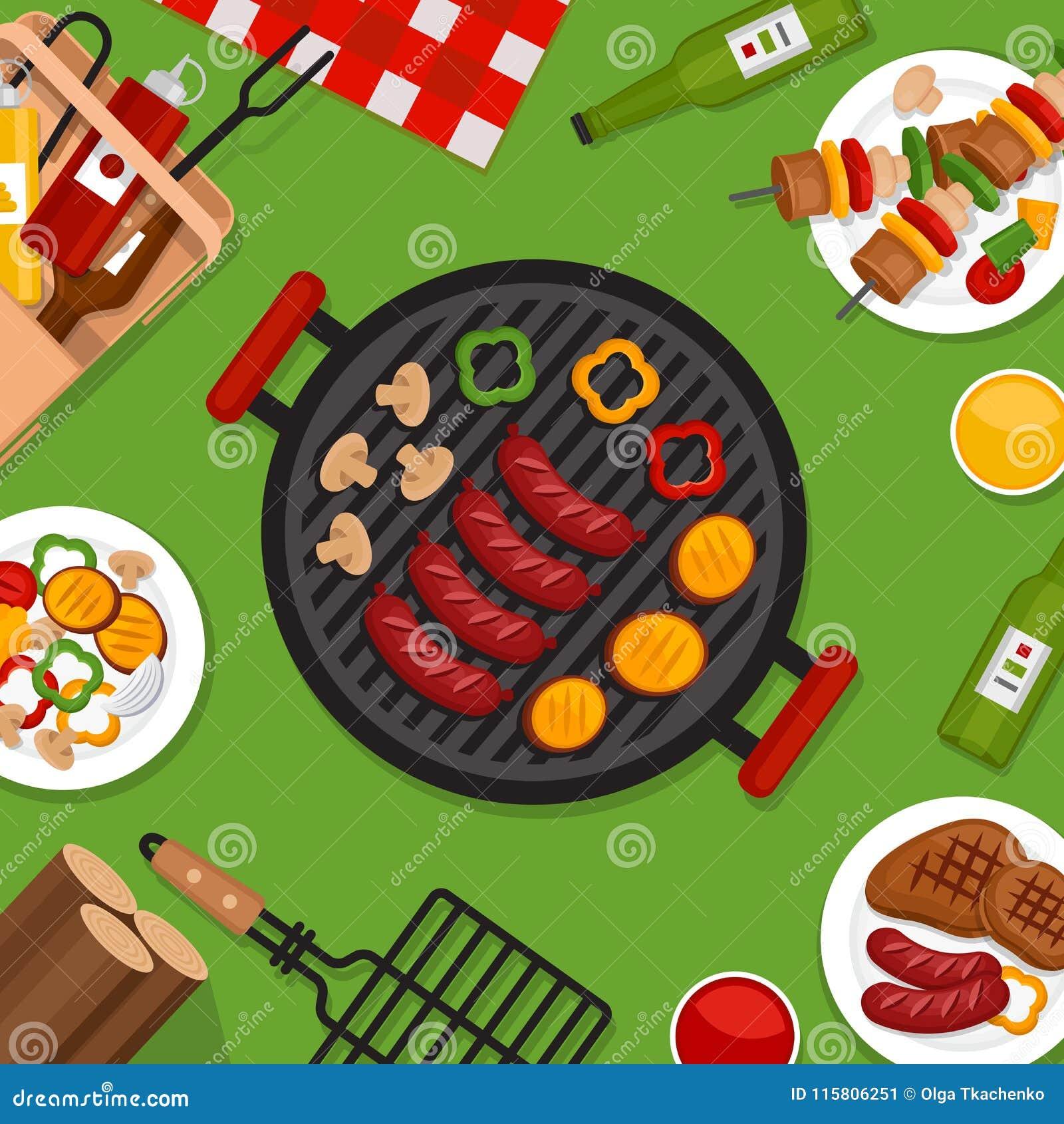 Fond de partie de BBQ avec le gril Affiche de barbecue Style plat, VE