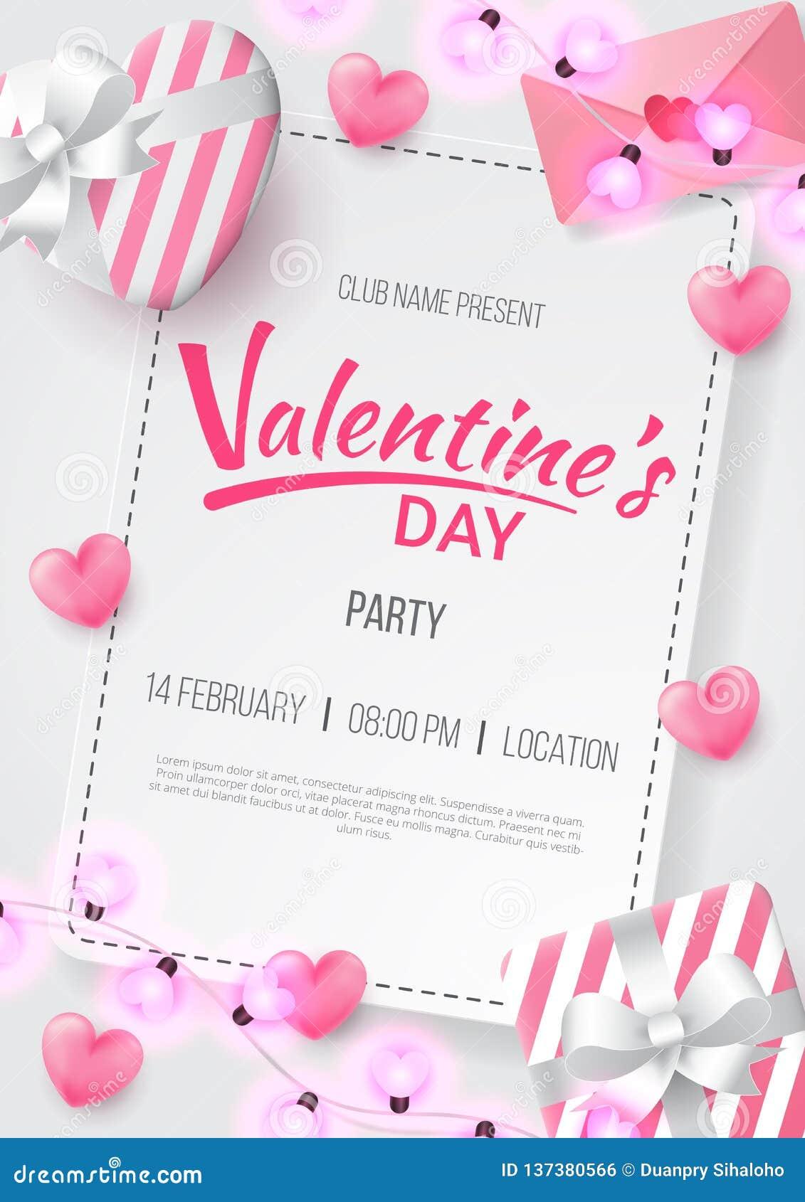 Fond de partie de jour de valentines avec la lettre en forme de coeur, d amour, le cadeau et la lampe formée par amour