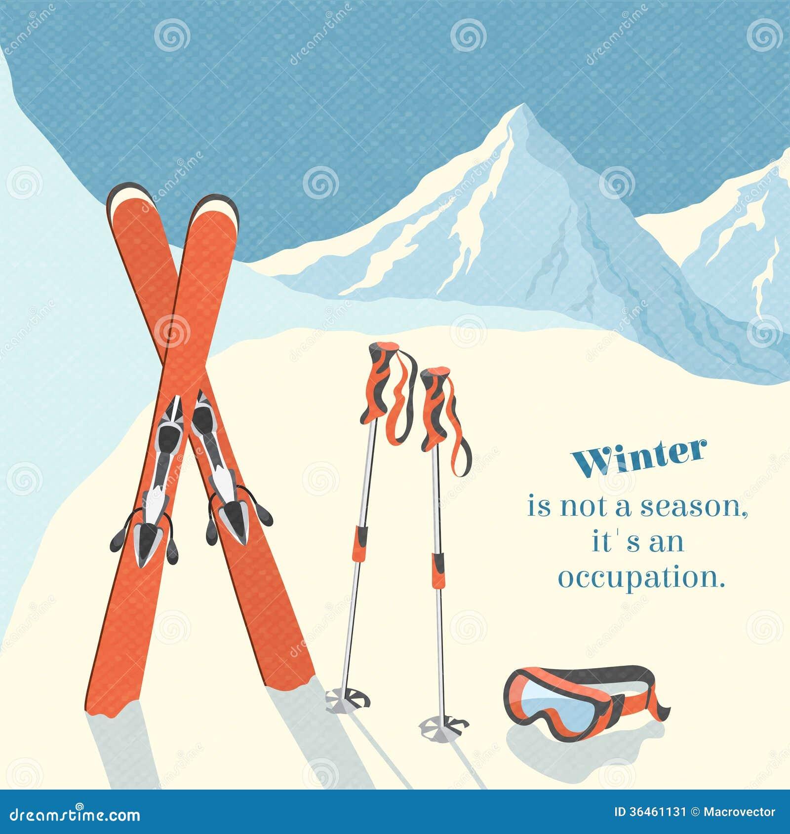 fond de paysage de montagne d 39 hiver de ski illustration de vecteur illustration du glacial. Black Bedroom Furniture Sets. Home Design Ideas