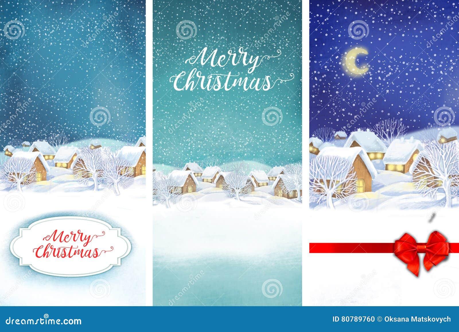 Fond de paysage de village d hiver Illustration de Noël