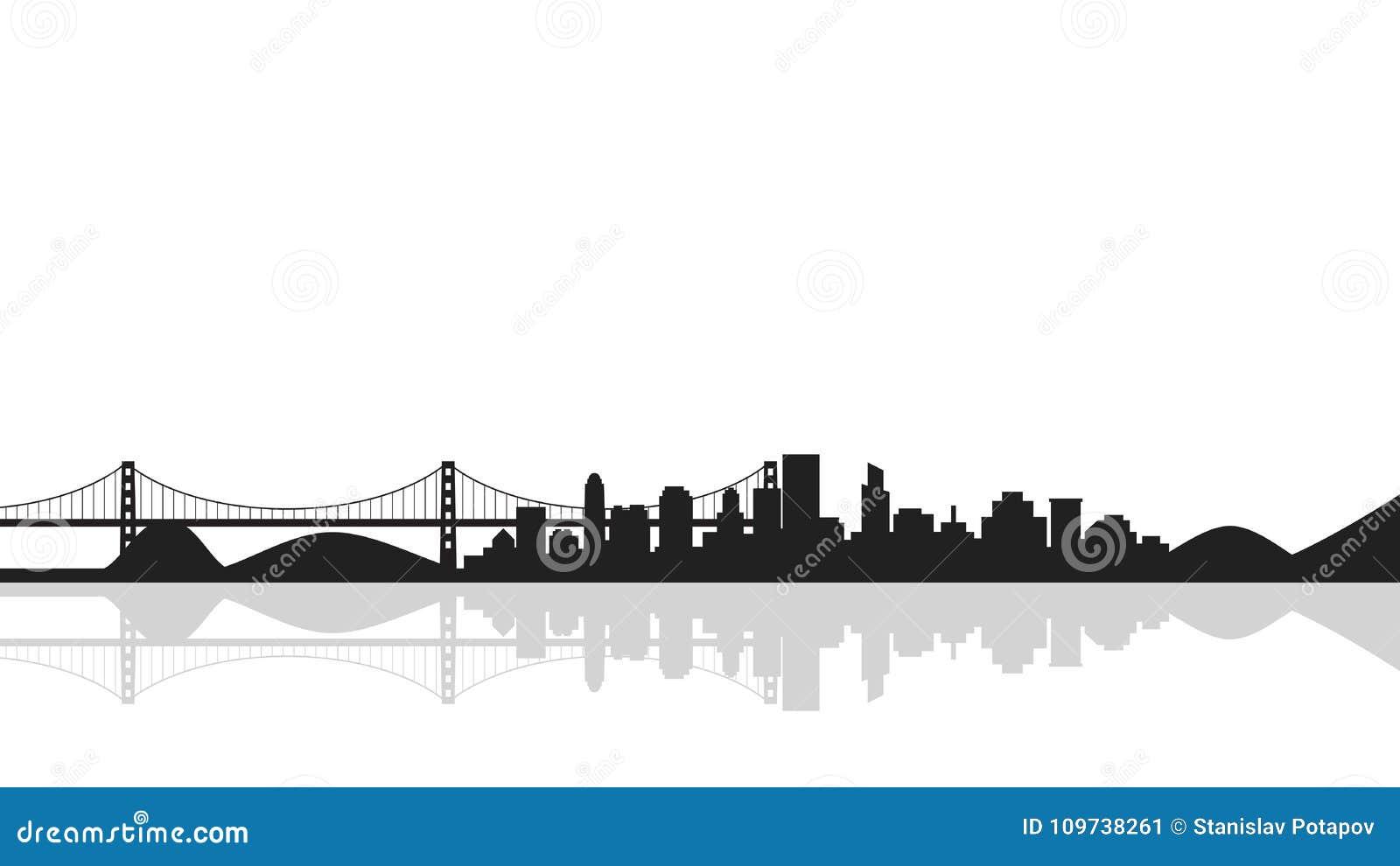 Fond de paysage urbain avec le pont, silhouette de ville