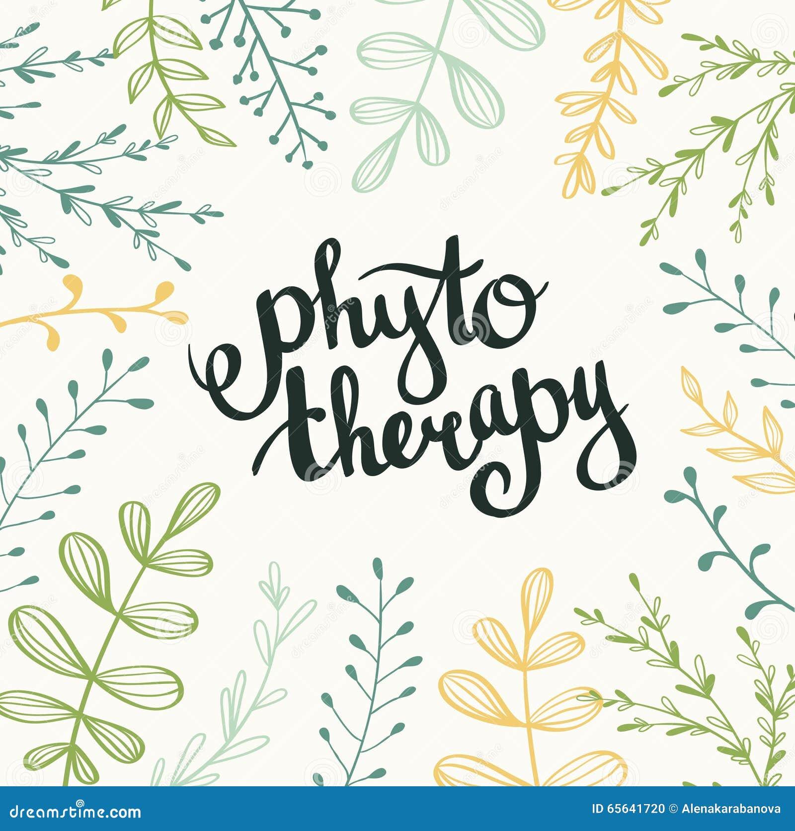 Fond de Phytotherapy Lettrage élégant dans le cadre Vecteur naturel avec des feuilles
