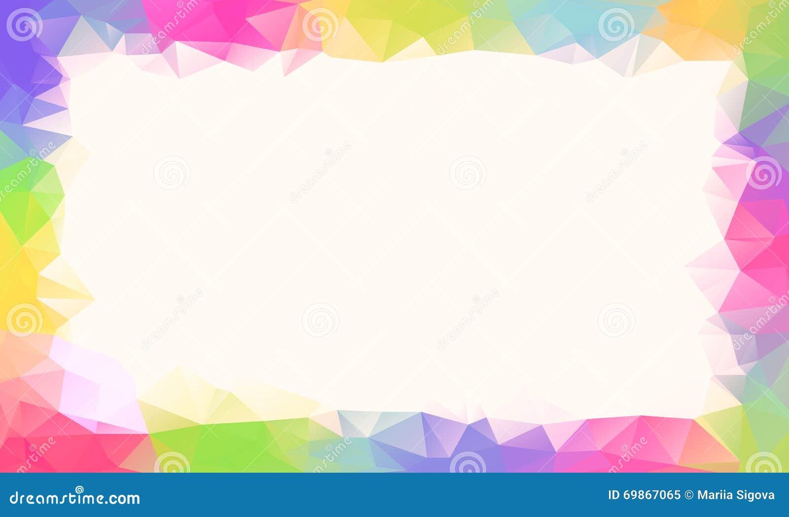 Fond de polygone d arc-en-ciel ou cadre coloré de vecteur