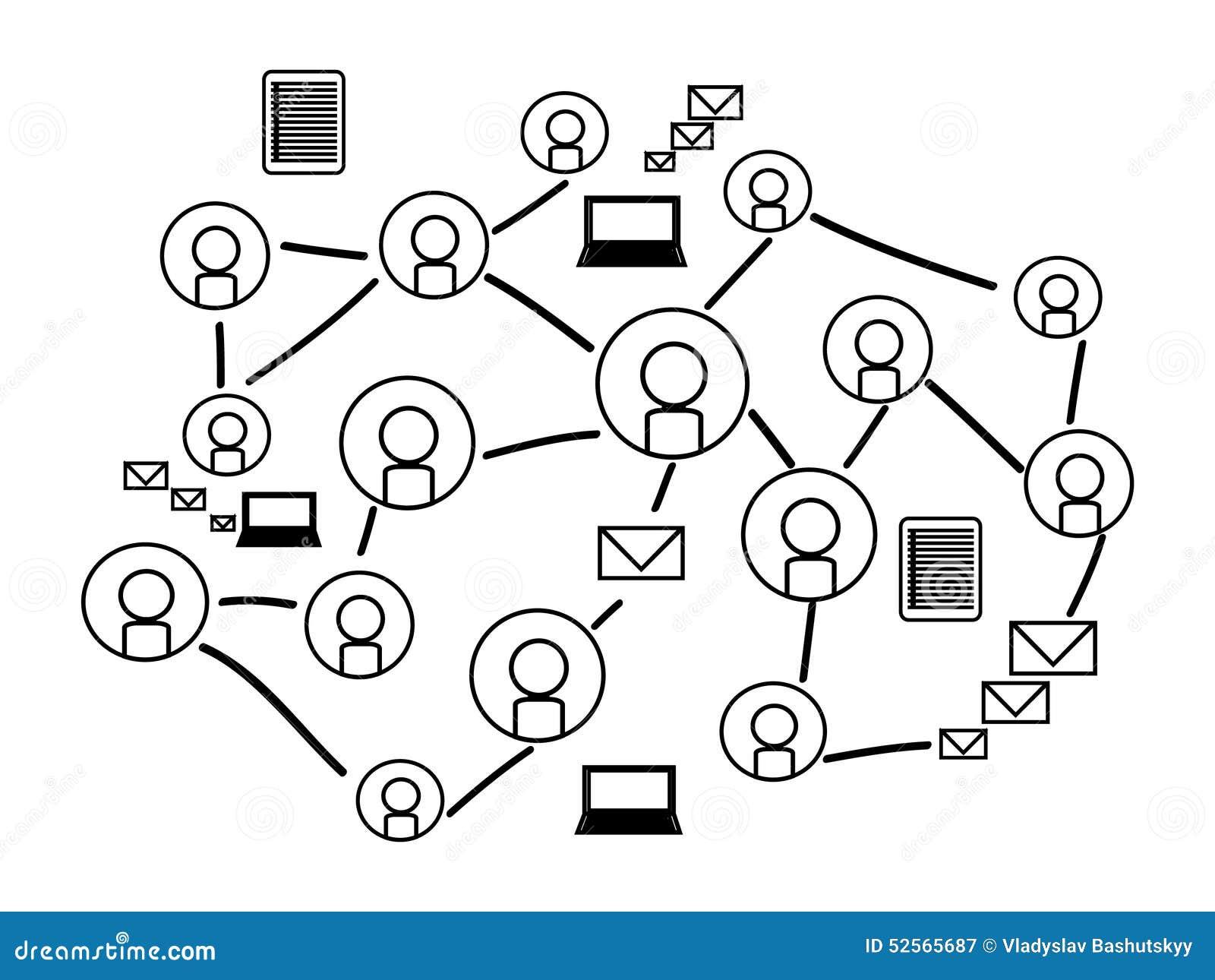 Fond de réseau social avec des icônes de silhouette