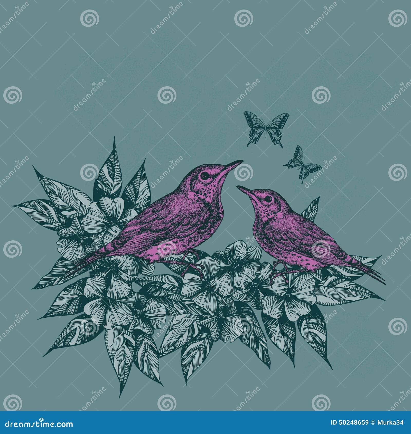 Fond de ressort avec deux oiseaux et papillons roses, main-aspiration