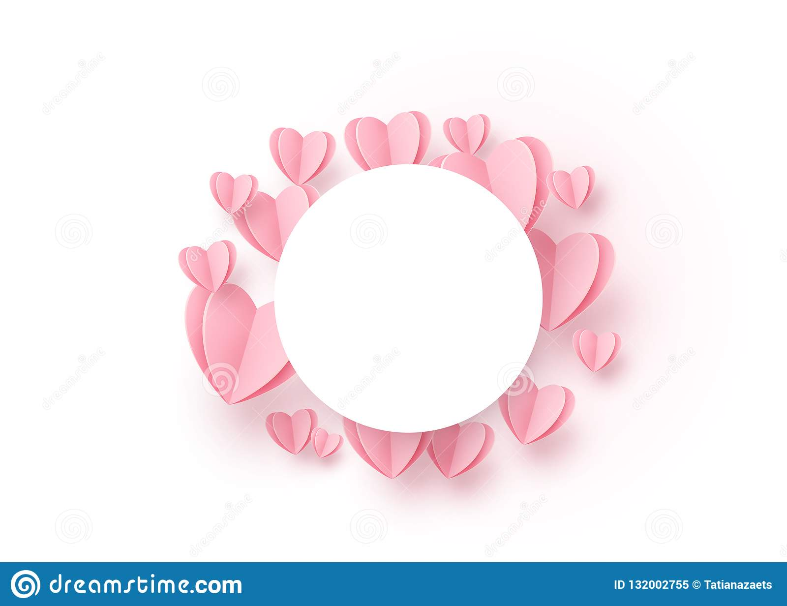 Fond de rond de coeur avec les coeurs de papier rose-clair et cadre blanc de cercle au centre Copiez l espace Modèle d amour pour