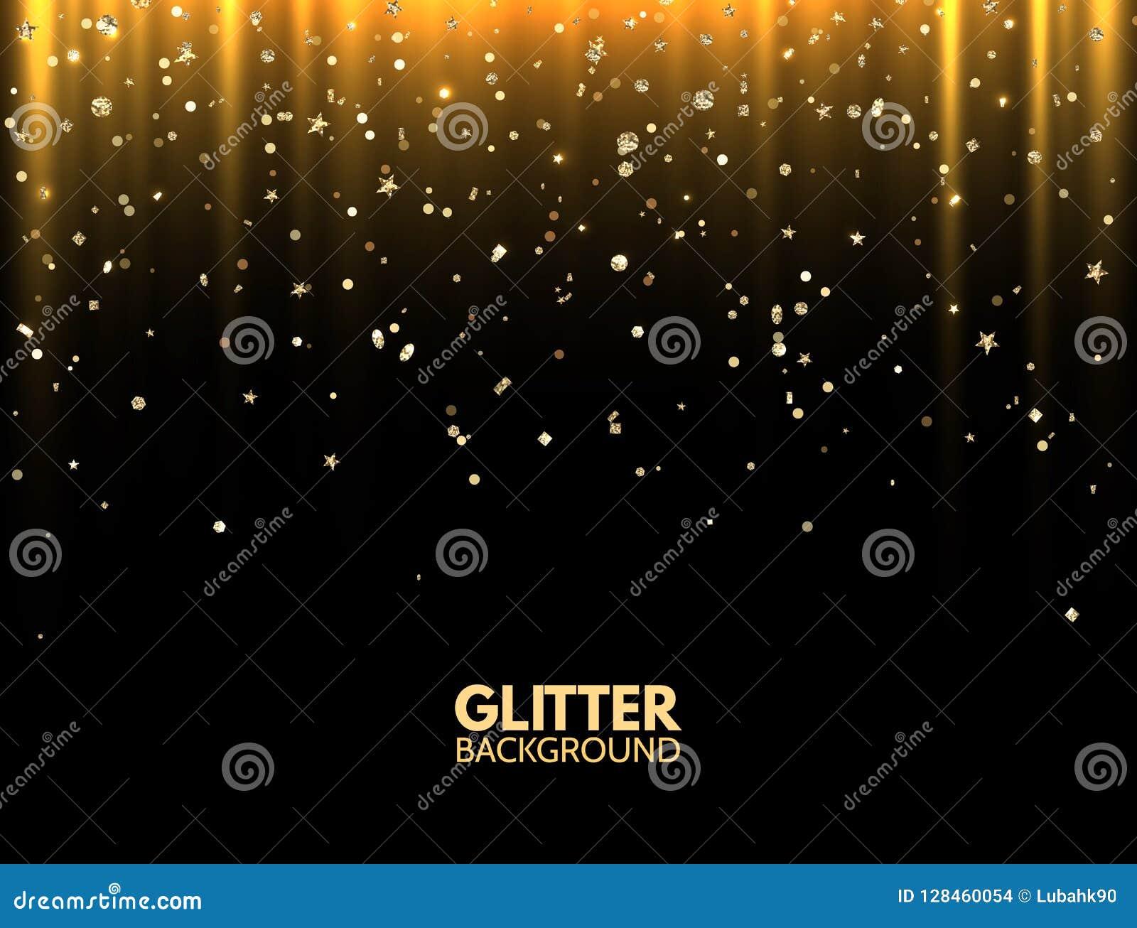 Fond de scintillement Rayons légers d or avec le scintillement de scintillement d or magique de la poussière Carte de voeux de lu