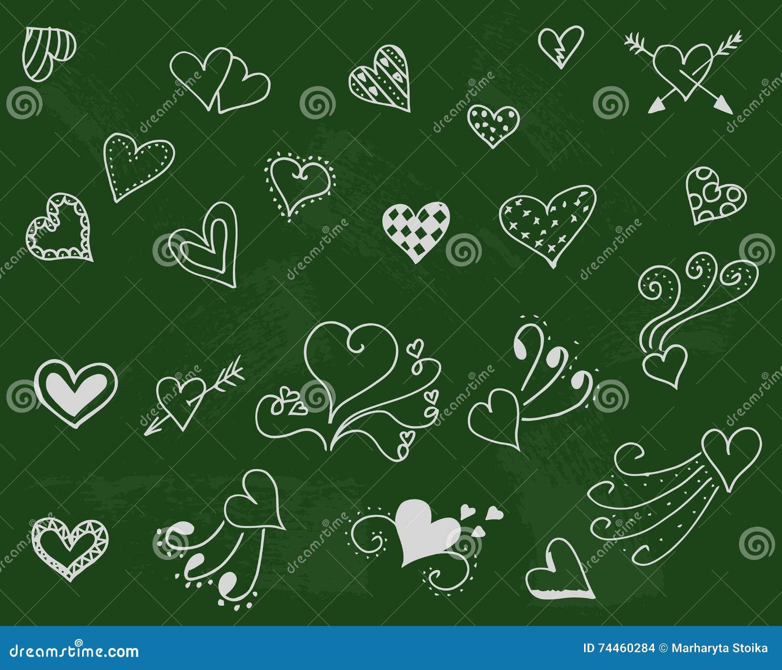 Fond de symbole de penchant Ensemble d amour Jour de romance de griffonnage