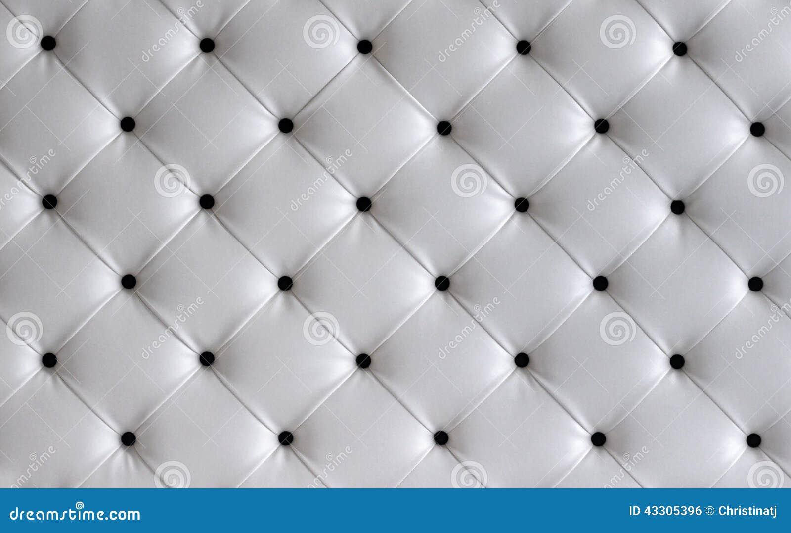 fond de t te de lit de bouton de cuir blanc photo stock image 43305396. Black Bedroom Furniture Sets. Home Design Ideas