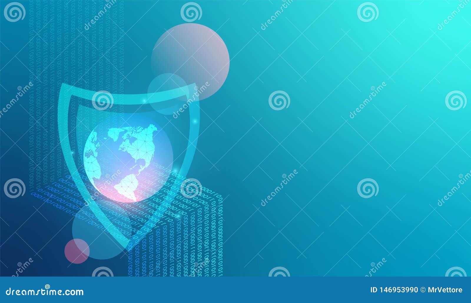 Fond de technique de protection de réseau de vecteur Filet et Internet globaux de protection des données Données numériques comme