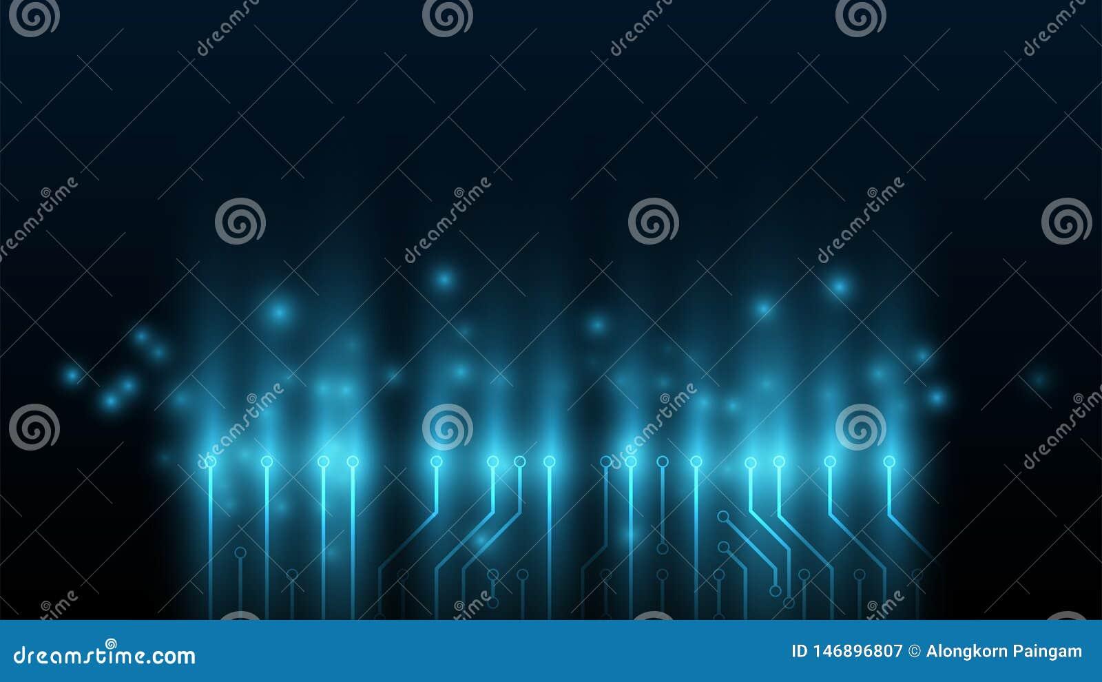 Fond de technologie de circuit, fond de pointe de processeur, fond pour l information de technologie, vitesse relier le concept