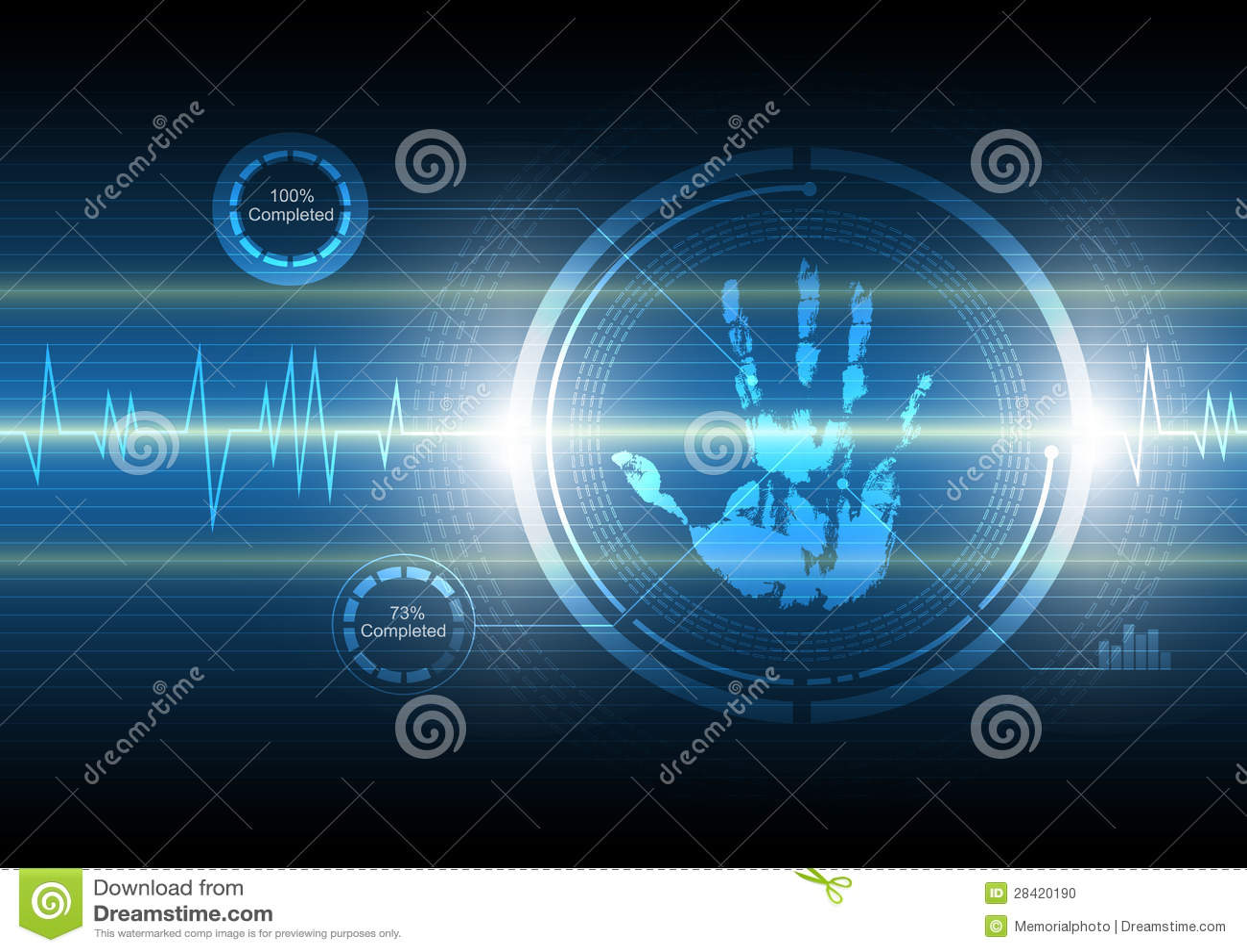 Fond de technologie de handprint de balayage