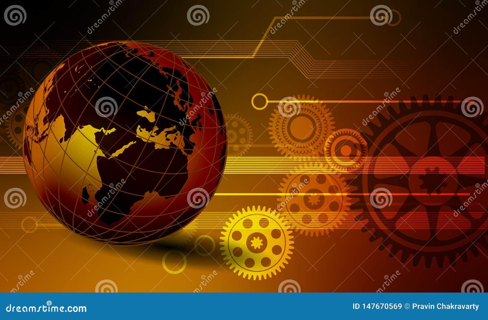 Fond de technologie du commerce de collection de données commerciales du monde de globe