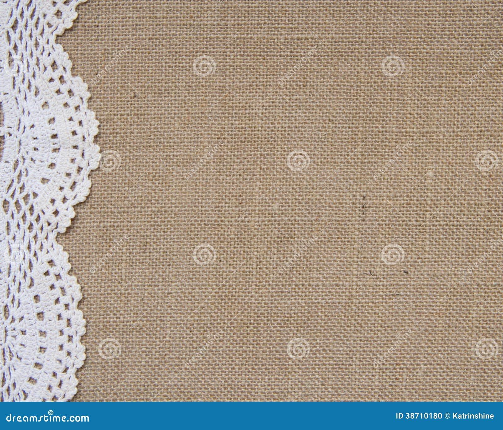 fond de toile de jute avec la dentelle photo stock image du grunge fibre 38710180. Black Bedroom Furniture Sets. Home Design Ideas