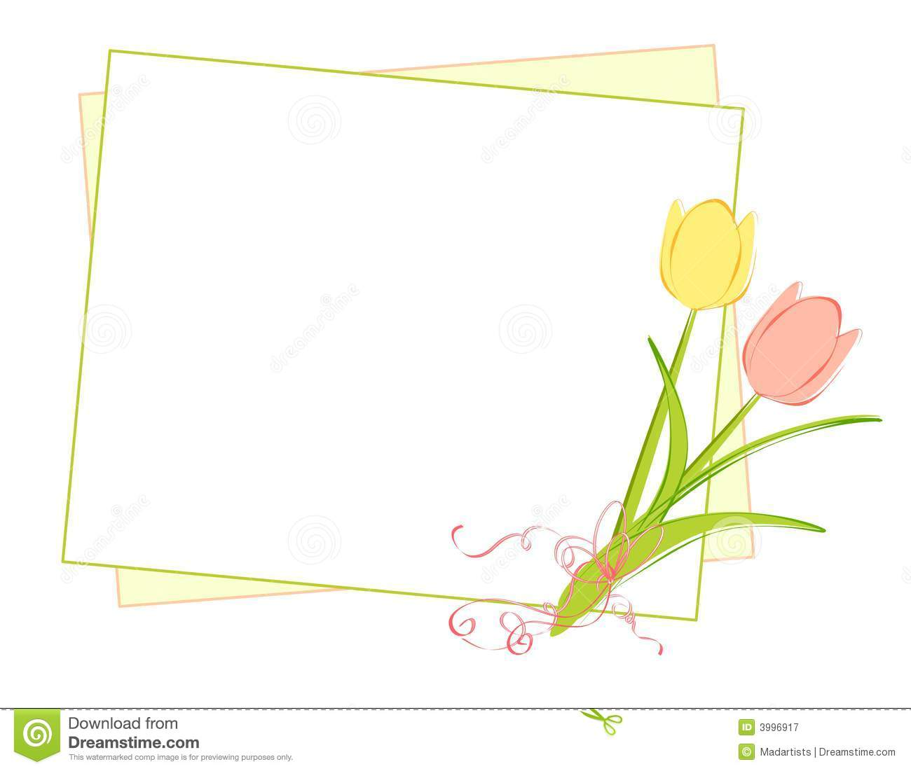Fond de tulipes de source et de papier de note