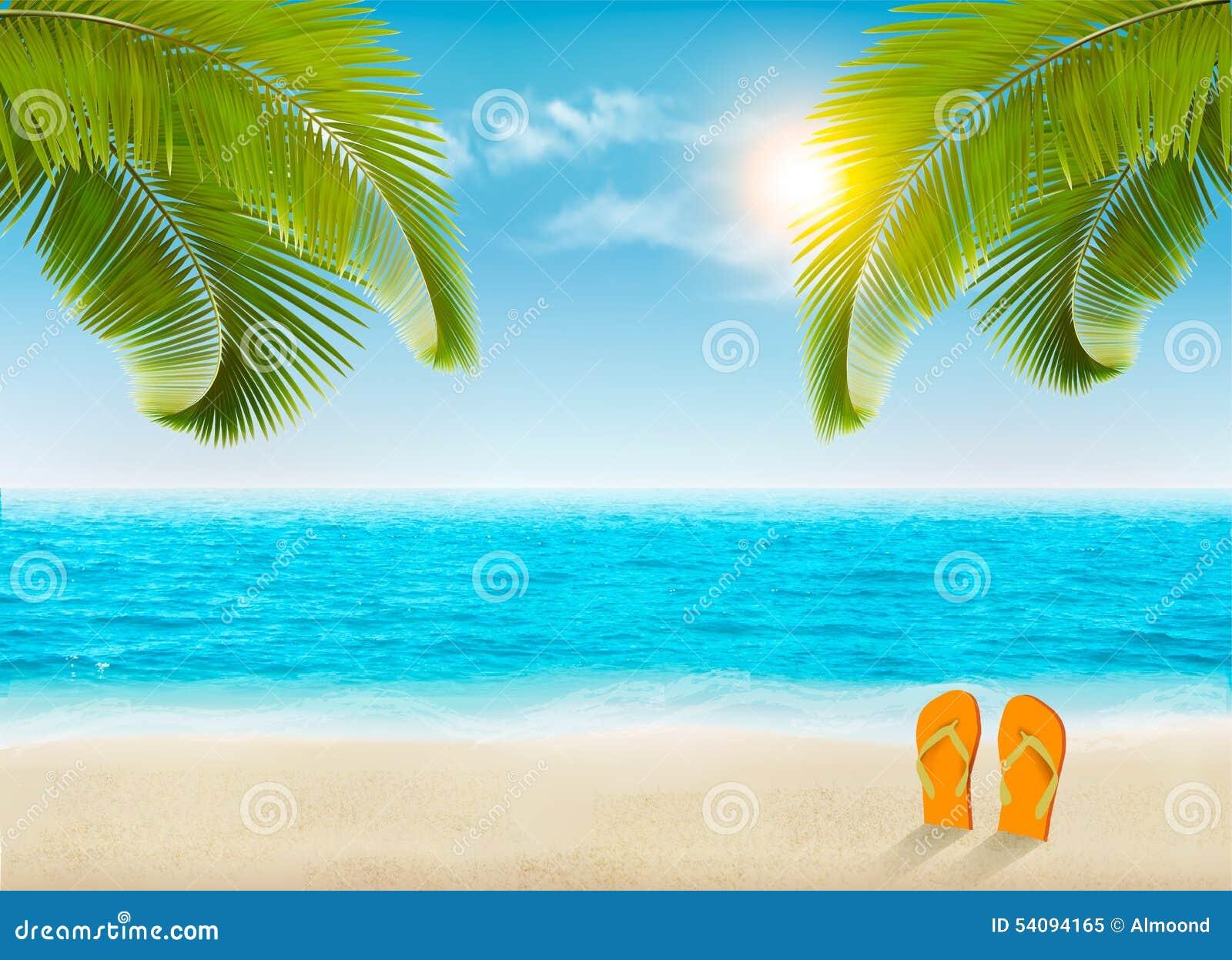 Fond De Vacances Plage Avec Les Palmiers Et La Mer Bleue