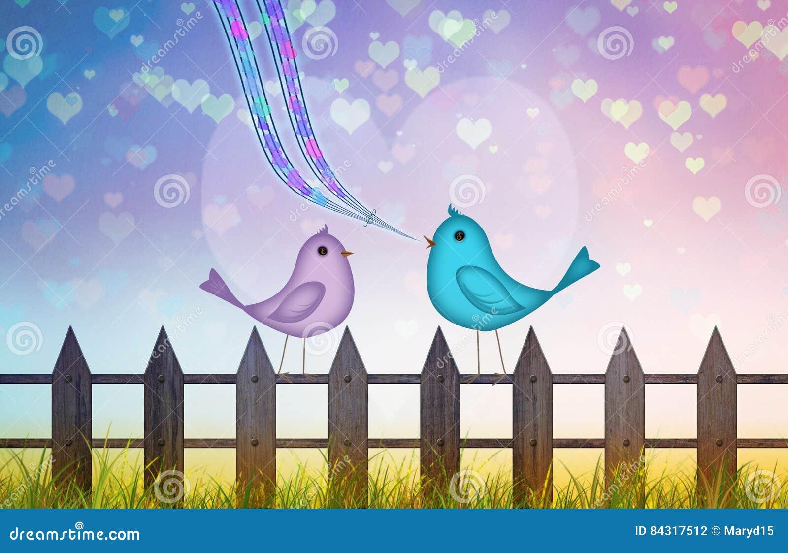 Fond de Valentine avec les coeurs colorés et couples mignons d oiseaux de bande dessinée dans l amour